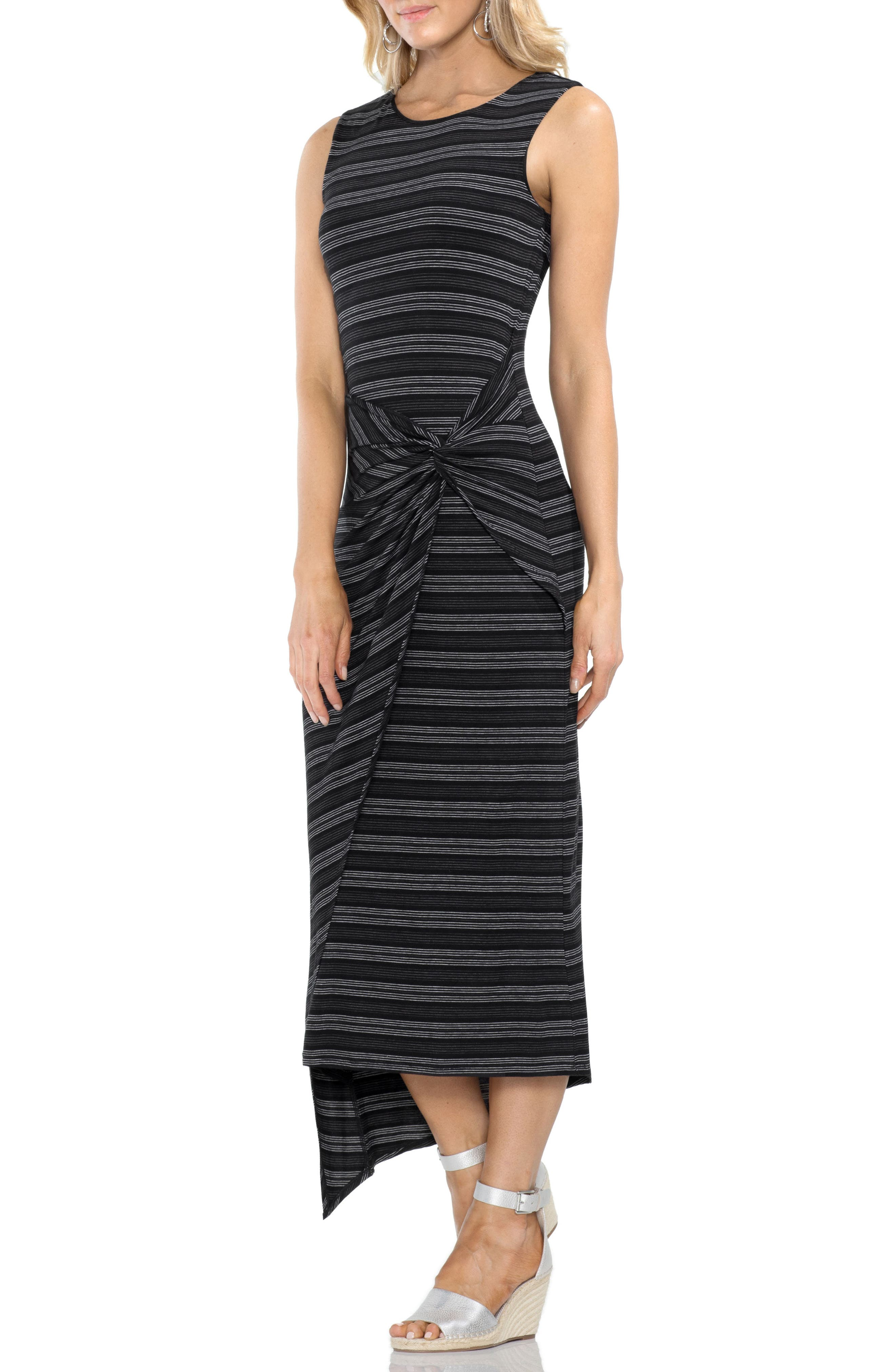 Twist Front Striped Tank Dress,                             Main thumbnail 1, color,                             001