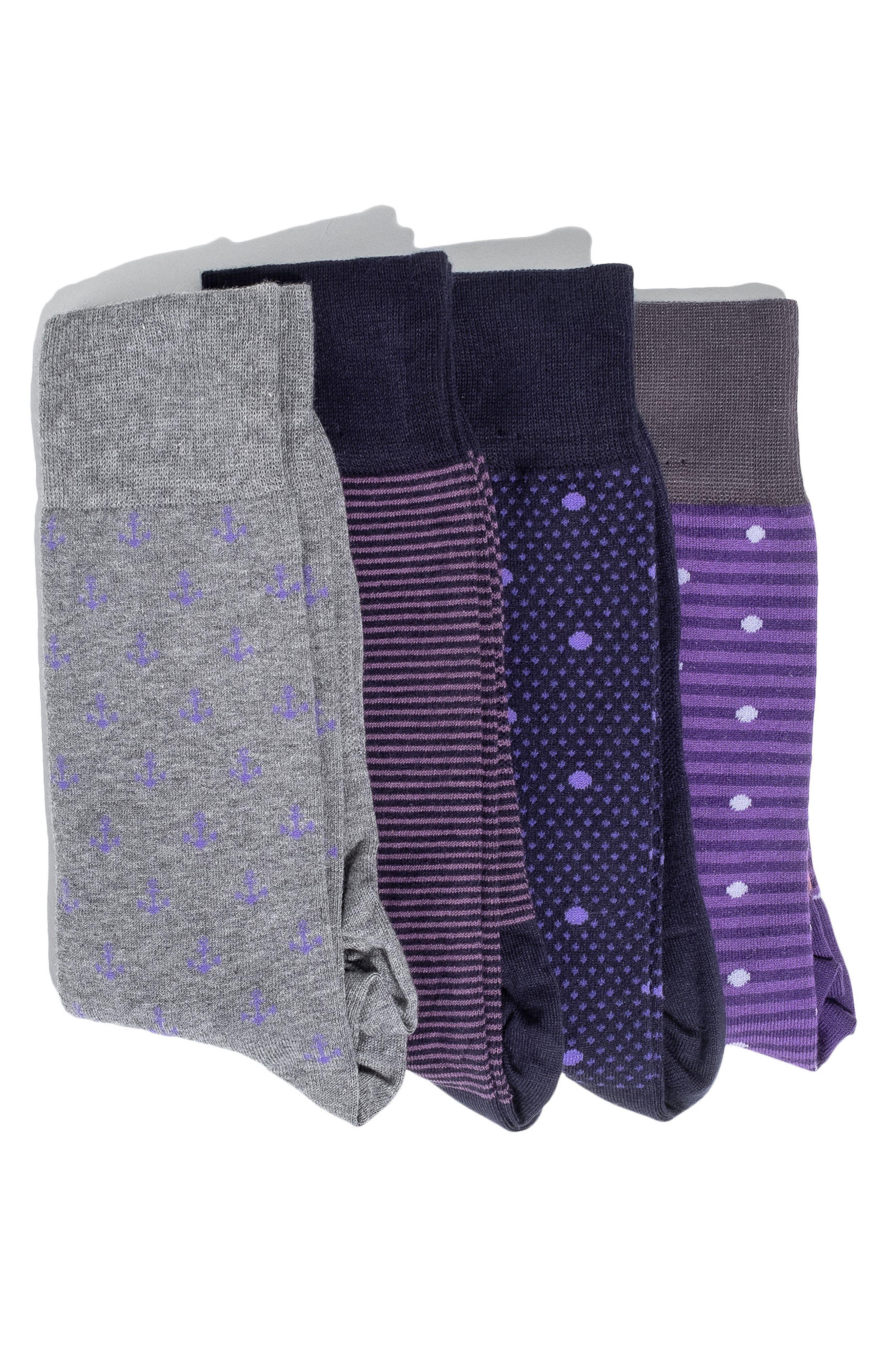 4-Pack Socks,                             Main thumbnail 1, color,                             PURPLE