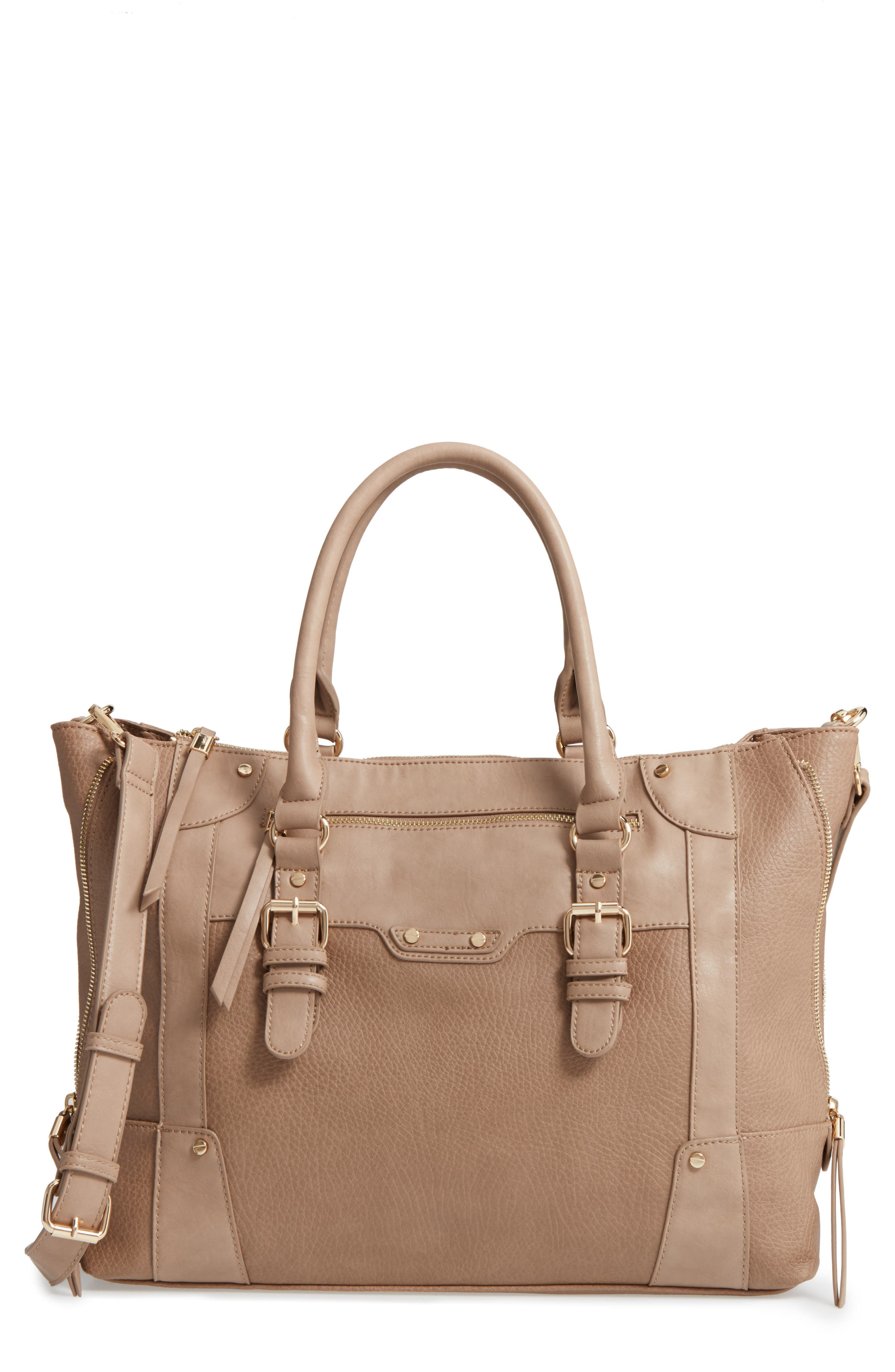 'Susan' Winged Faux Leather Tote,                             Main thumbnail 2, color,