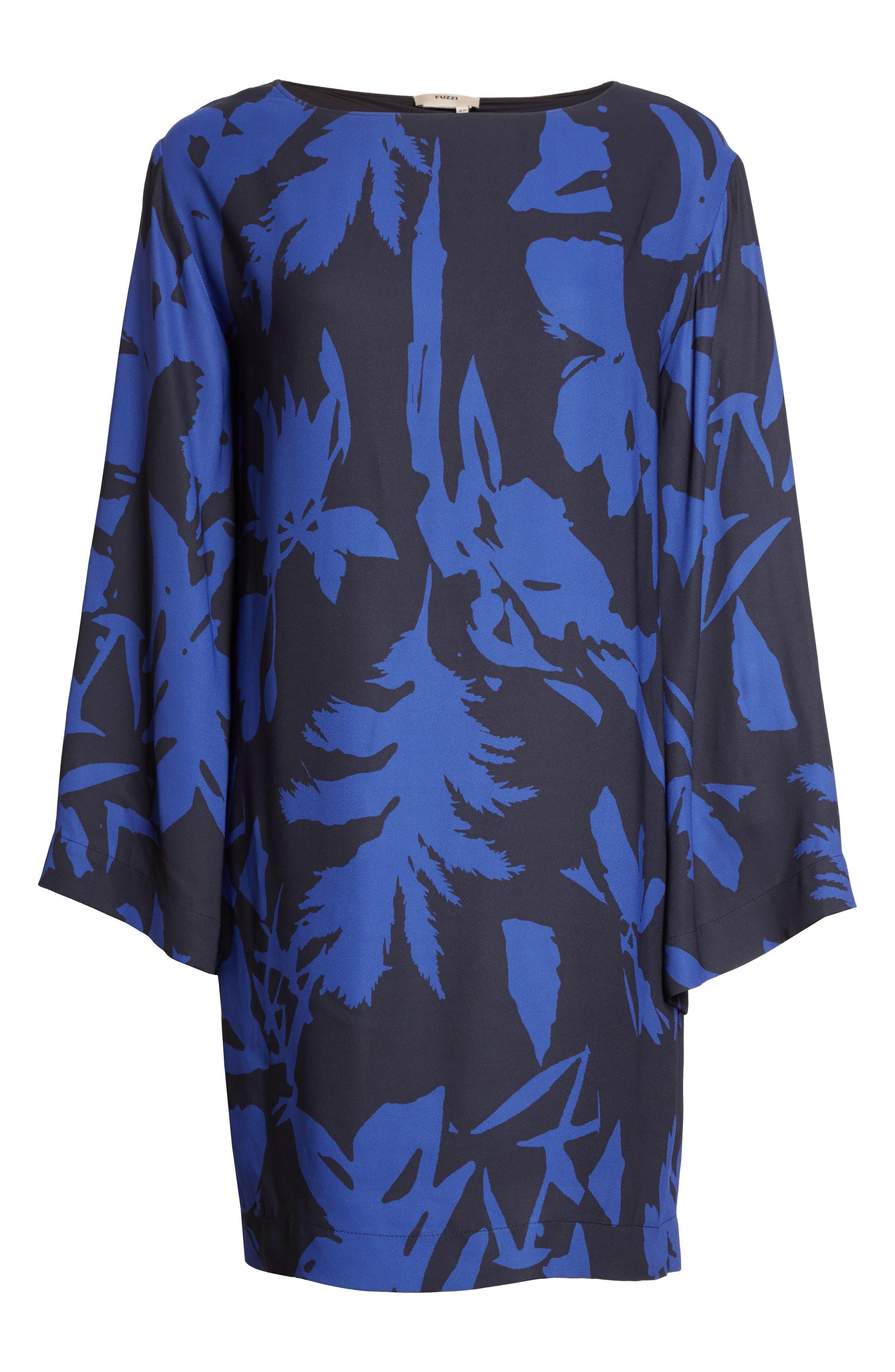Floral Crepe Bell Sleeve Dress,                             Alternate thumbnail 6, color,                             410