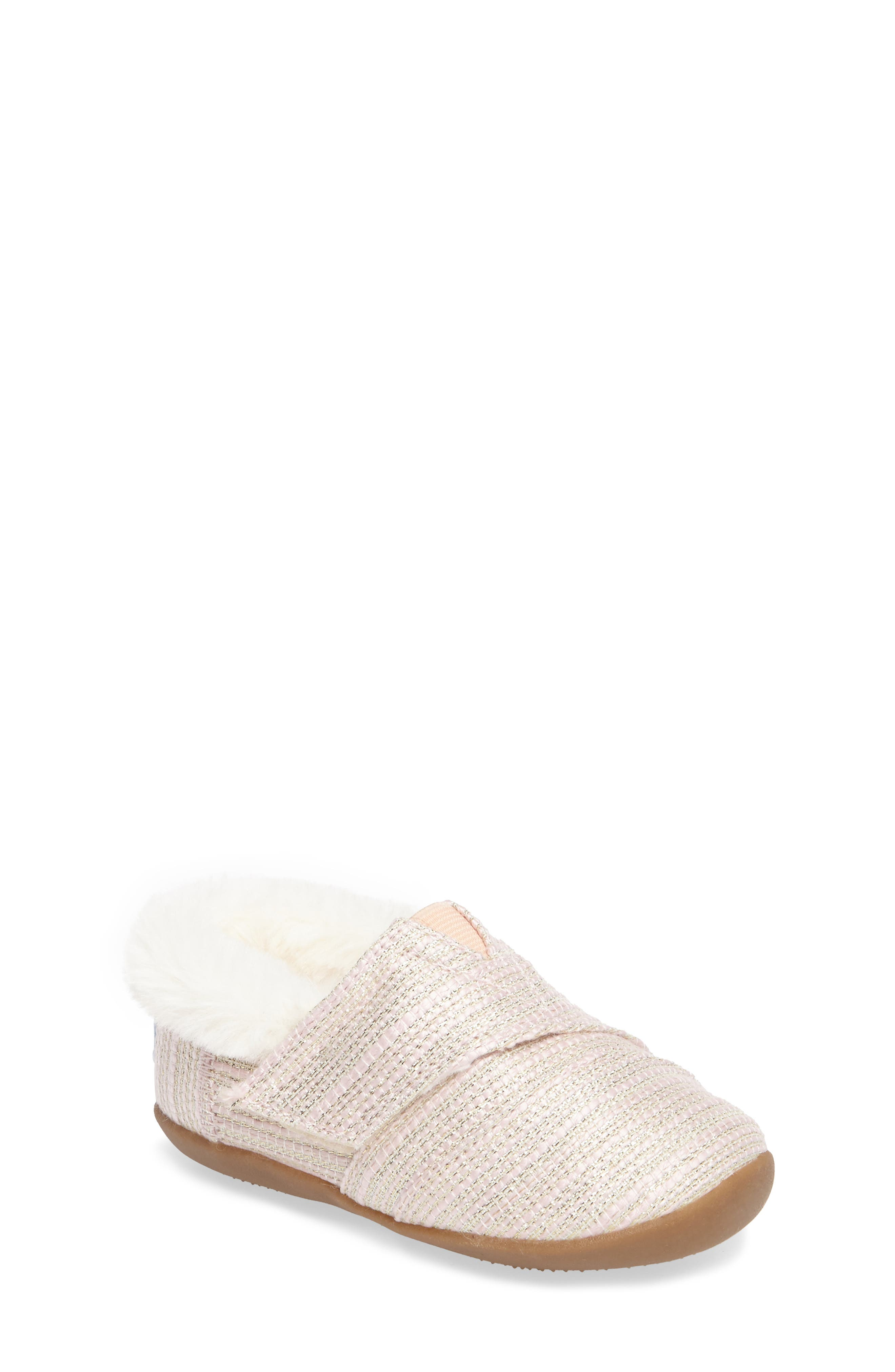 Tiny Faux Fur Metallic Slipper,                         Main,                         color, PINK METALLIC WOVEN