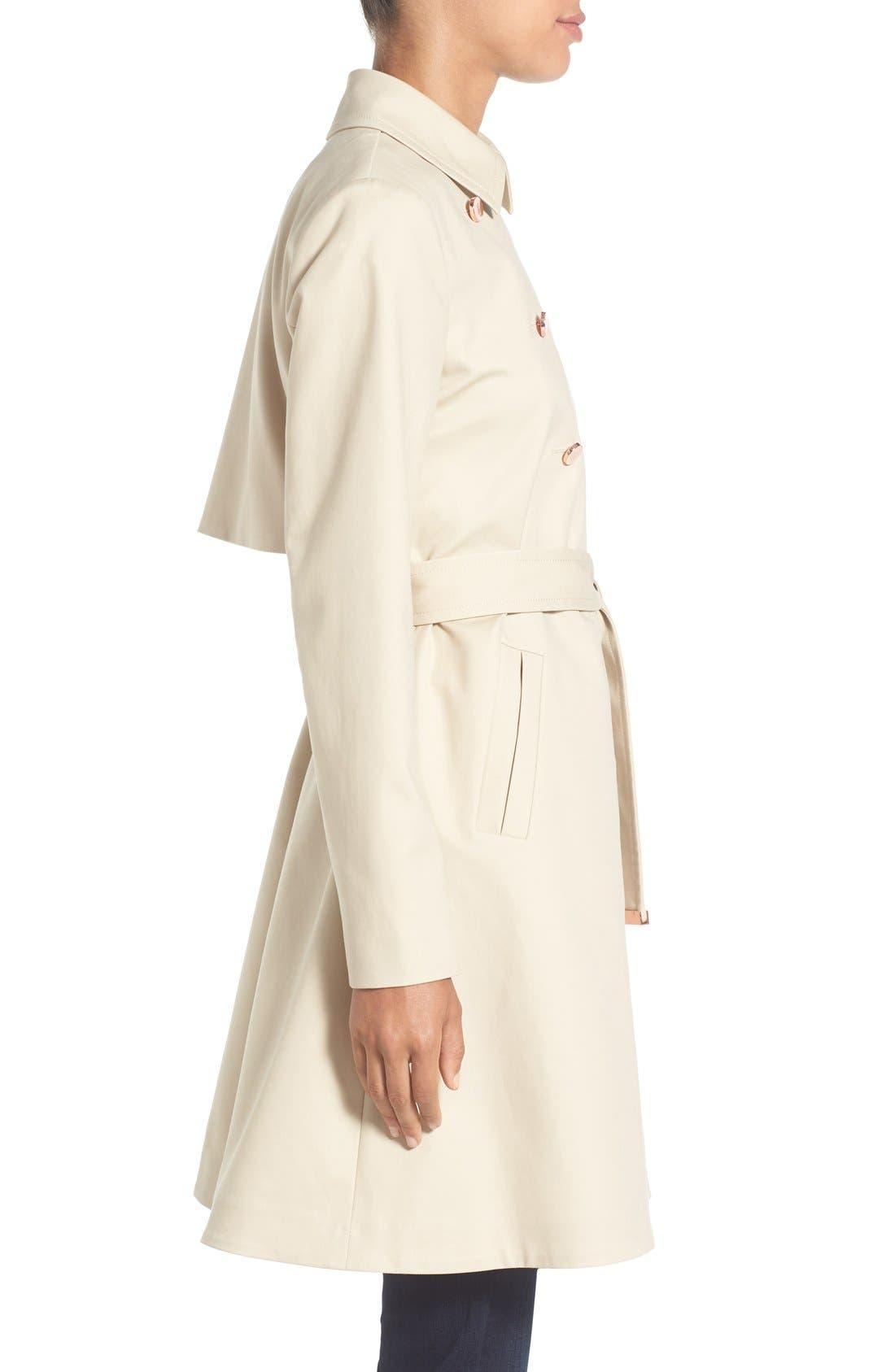 TED BAKER LONDON,                             Flared Skirt Trench Coat,                             Alternate thumbnail 3, color,                             253