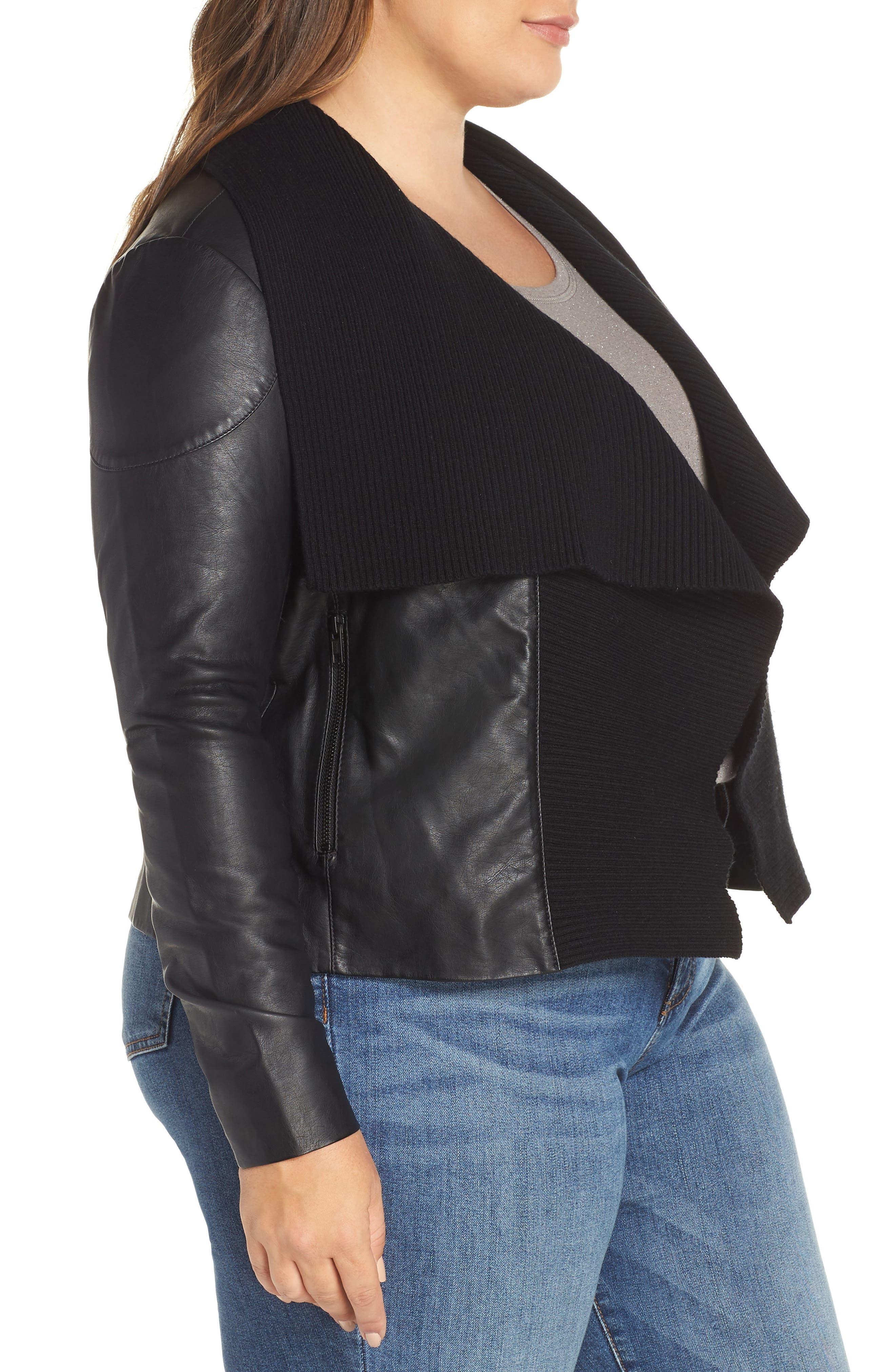 Ribbed Drape Front Faux Leather Jacket,                             Alternate thumbnail 3, color,                             BLACK