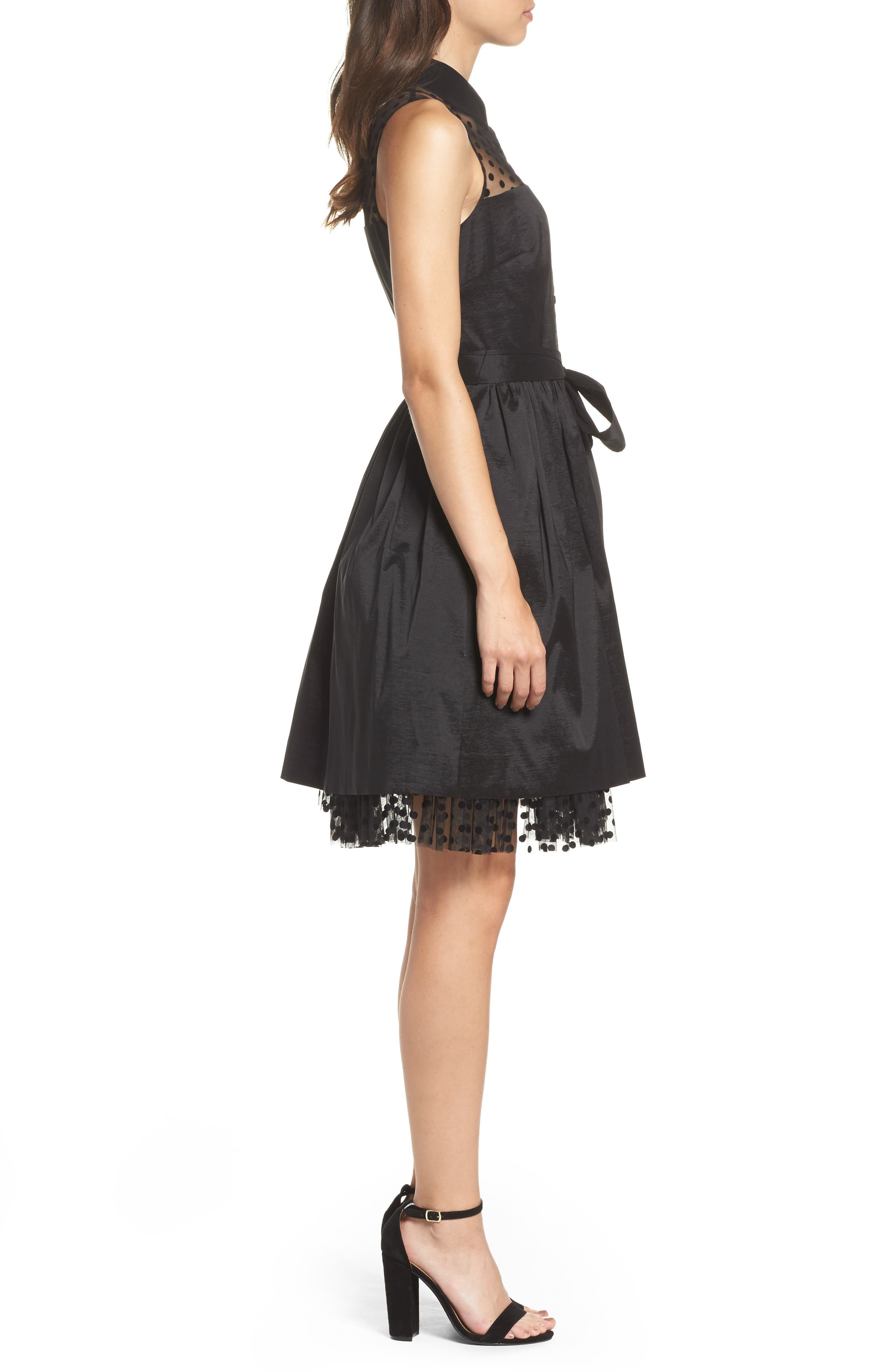 Pleated Shirtdress,                             Alternate thumbnail 3, color,                             001