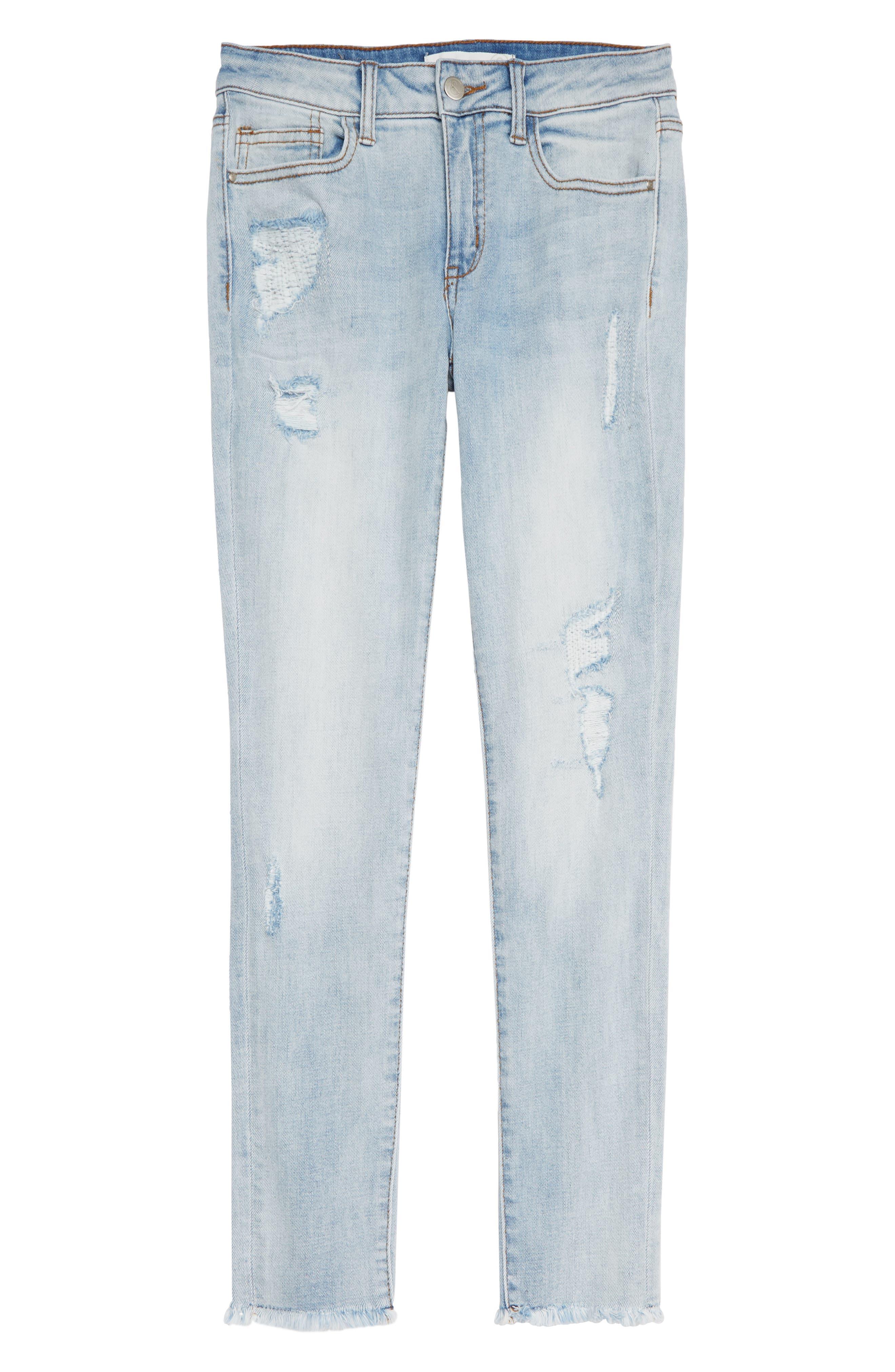 Girls Treasure  Bond Repaired Girlfriend Jeans Size 16  Blue