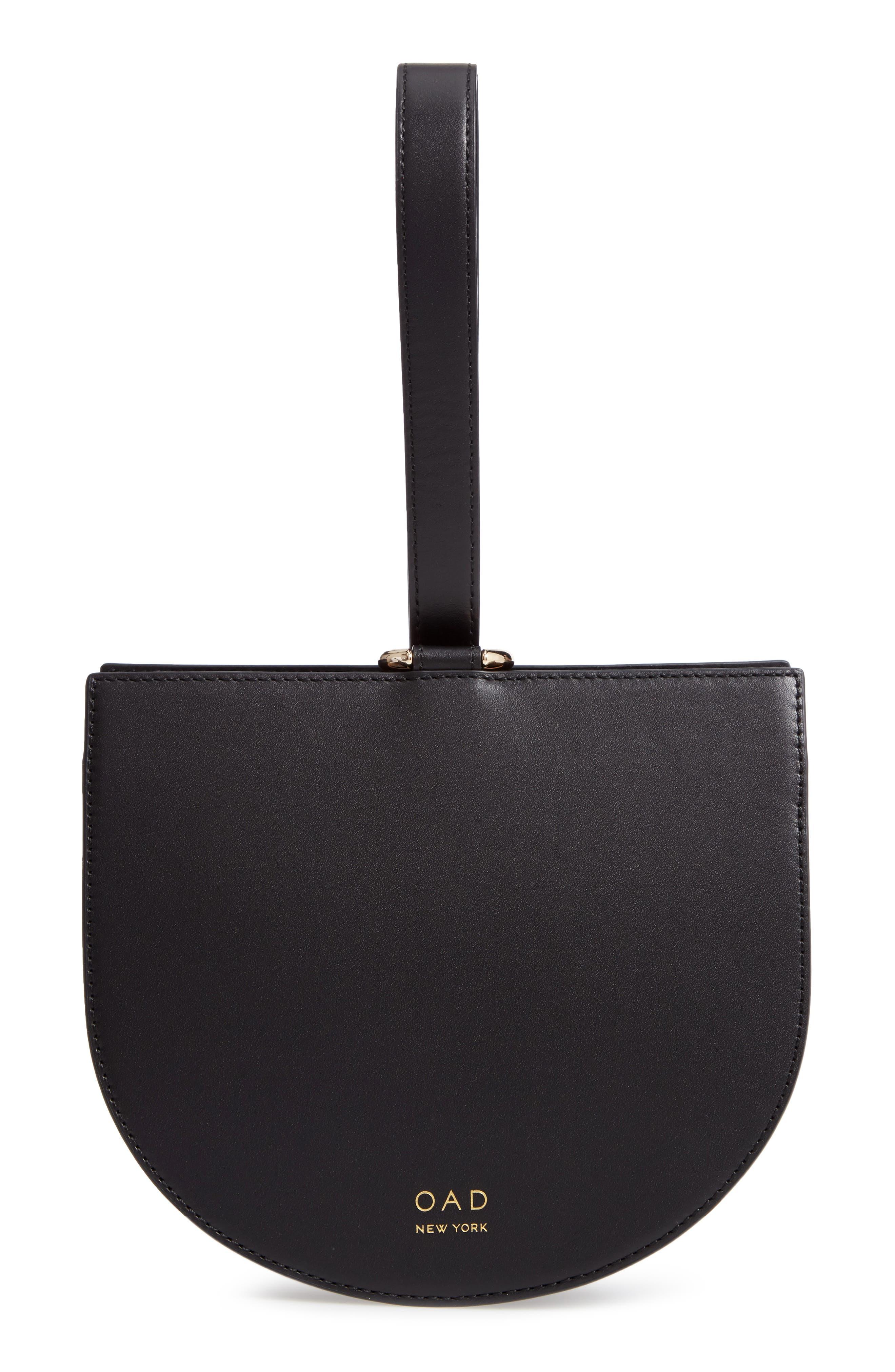 Dome Leather Wristlet,                             Main thumbnail 1, color,                             TRUE BLACK