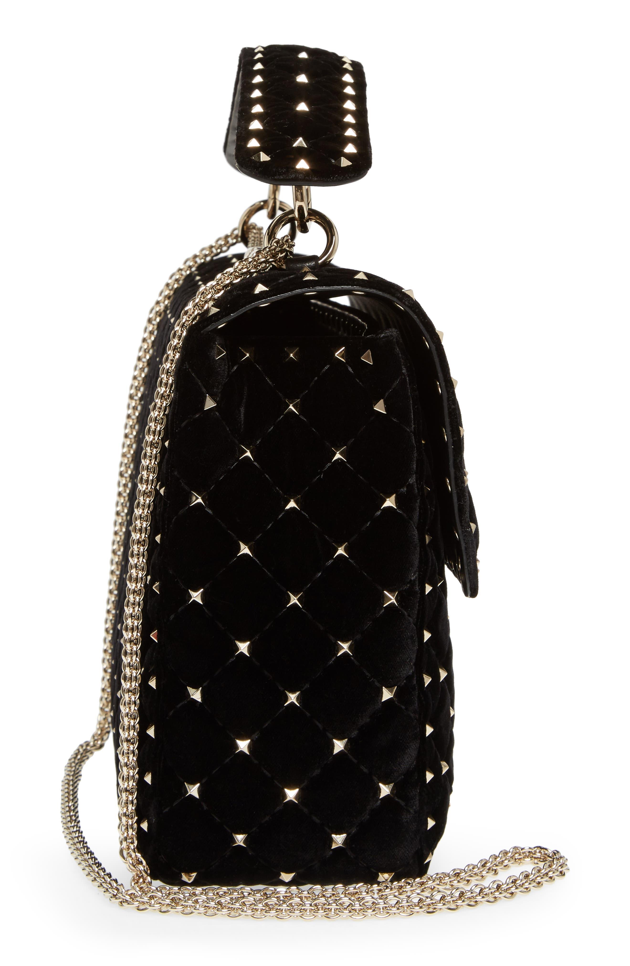 Rockstud Matelassé Velvet Shoulder Bag,                             Alternate thumbnail 5, color,                             001