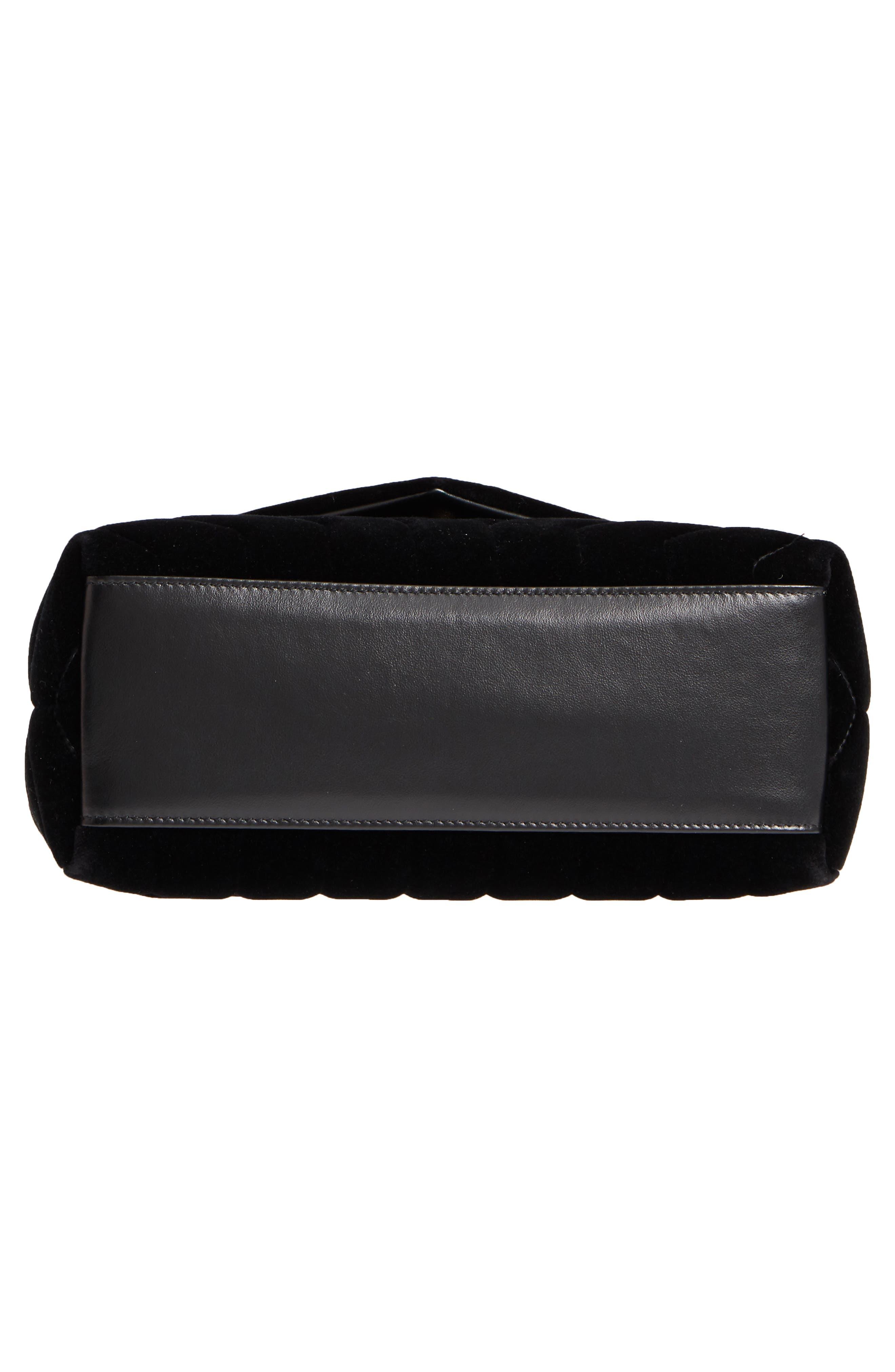 SAINT LAURENT,                             Small Loulou Velvet Shoulder Bag,                             Alternate thumbnail 6, color,                             NERO/ NERO/ NERO