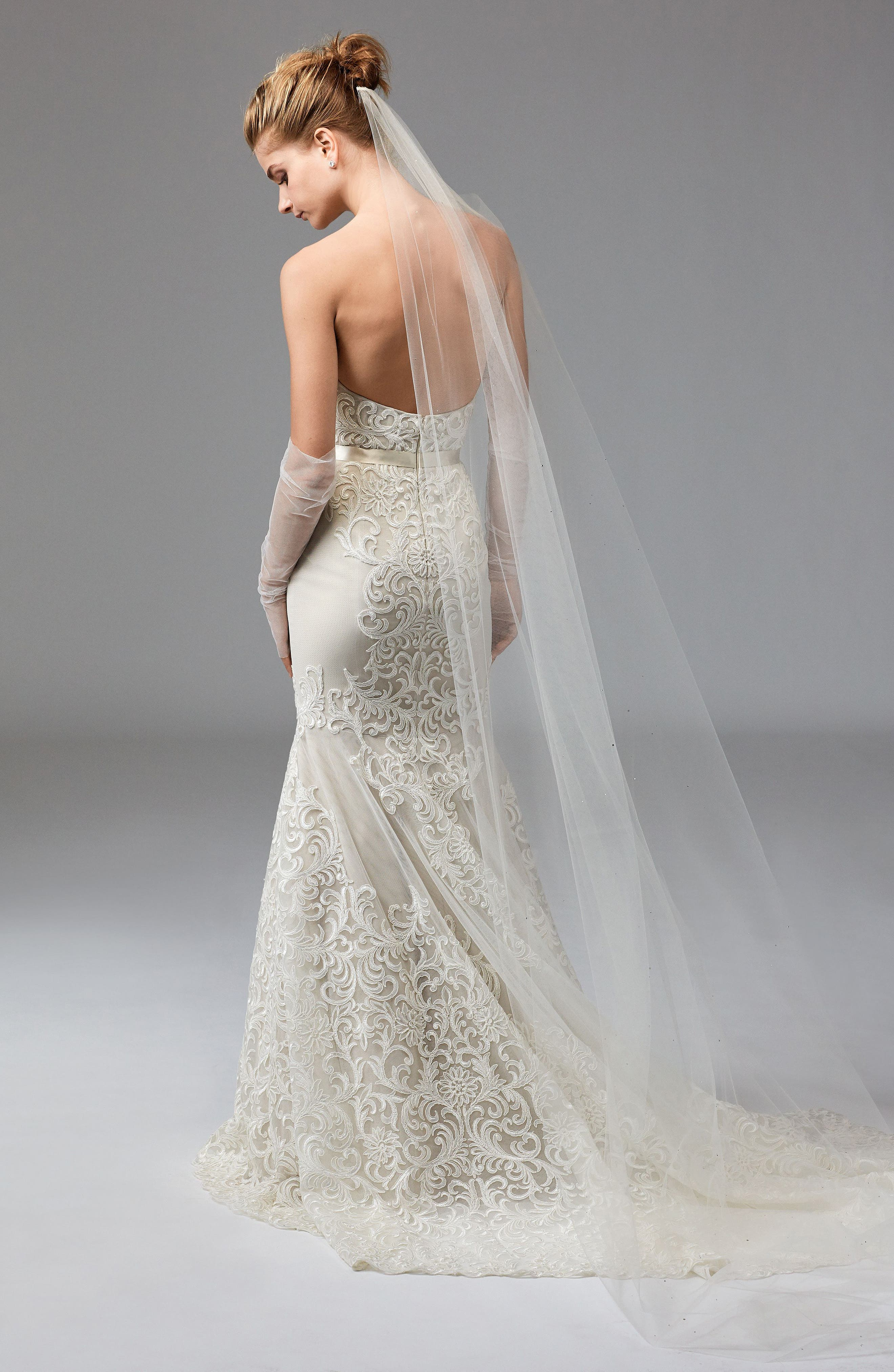 Alice Embroidered Strapless Trumpet Gown,                             Alternate thumbnail 2, color,                             IVORY/CHAMPAGNE/VANILLA BEAN