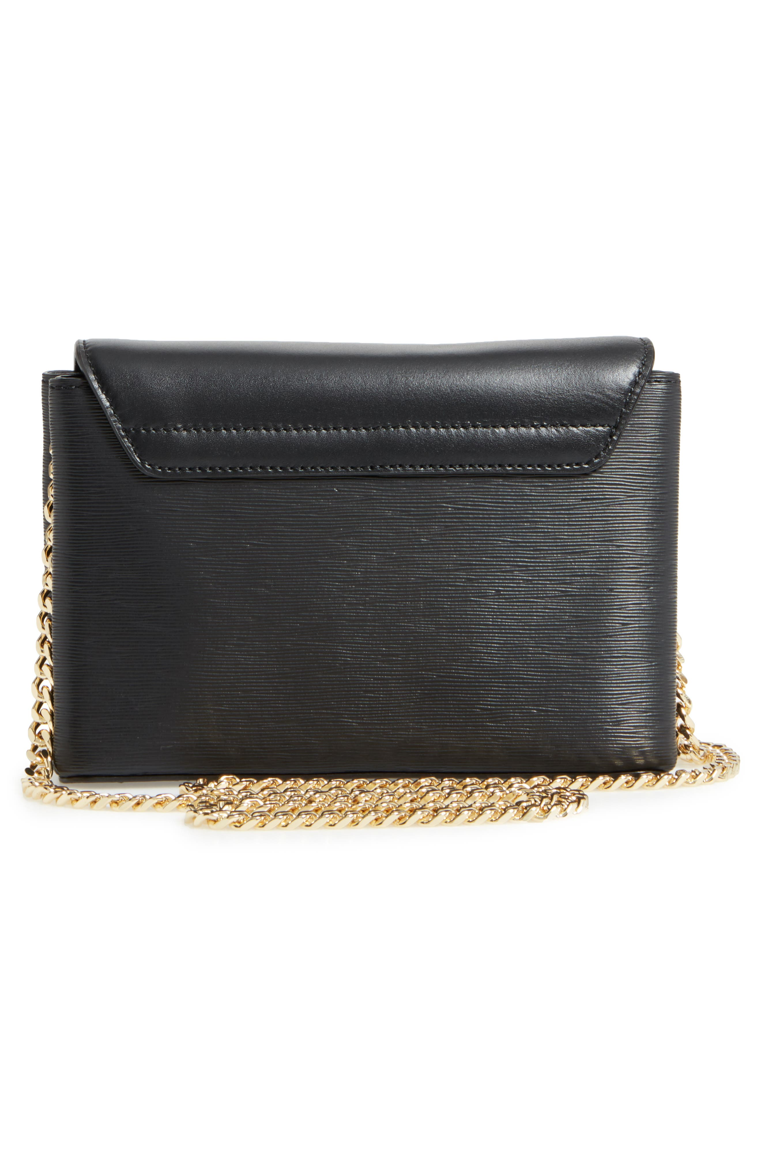 Leorr Bow Leather Crossbody Bag,                             Alternate thumbnail 3, color,                             001