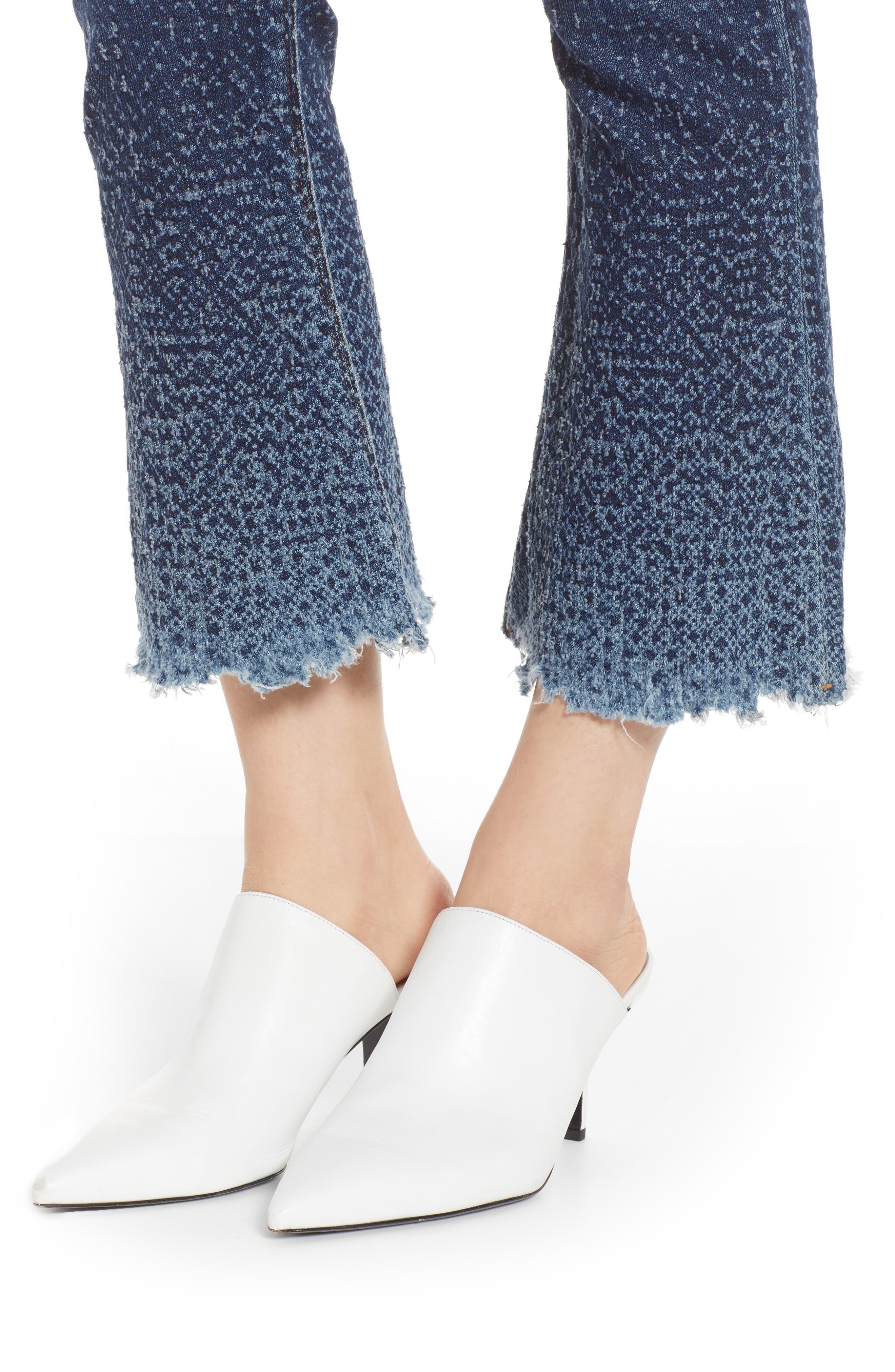 Holly High Waist Crop Flare Jeans,                             Alternate thumbnail 4, color,                             DIST. SUNDOWN DISTRESSED