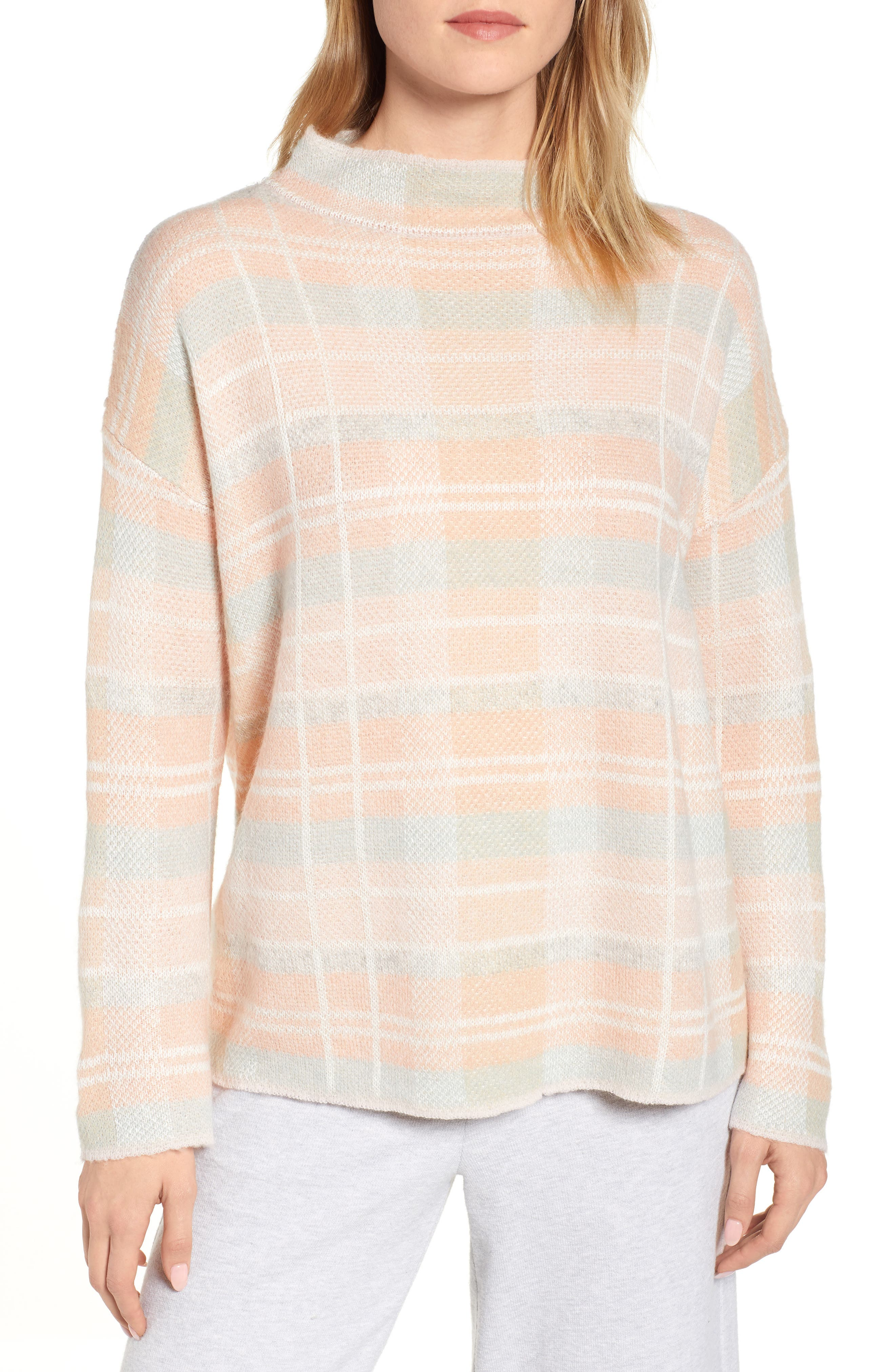 Plaid Mock Neck Sweater, Main, color, PINK PLAID AS SWATCH