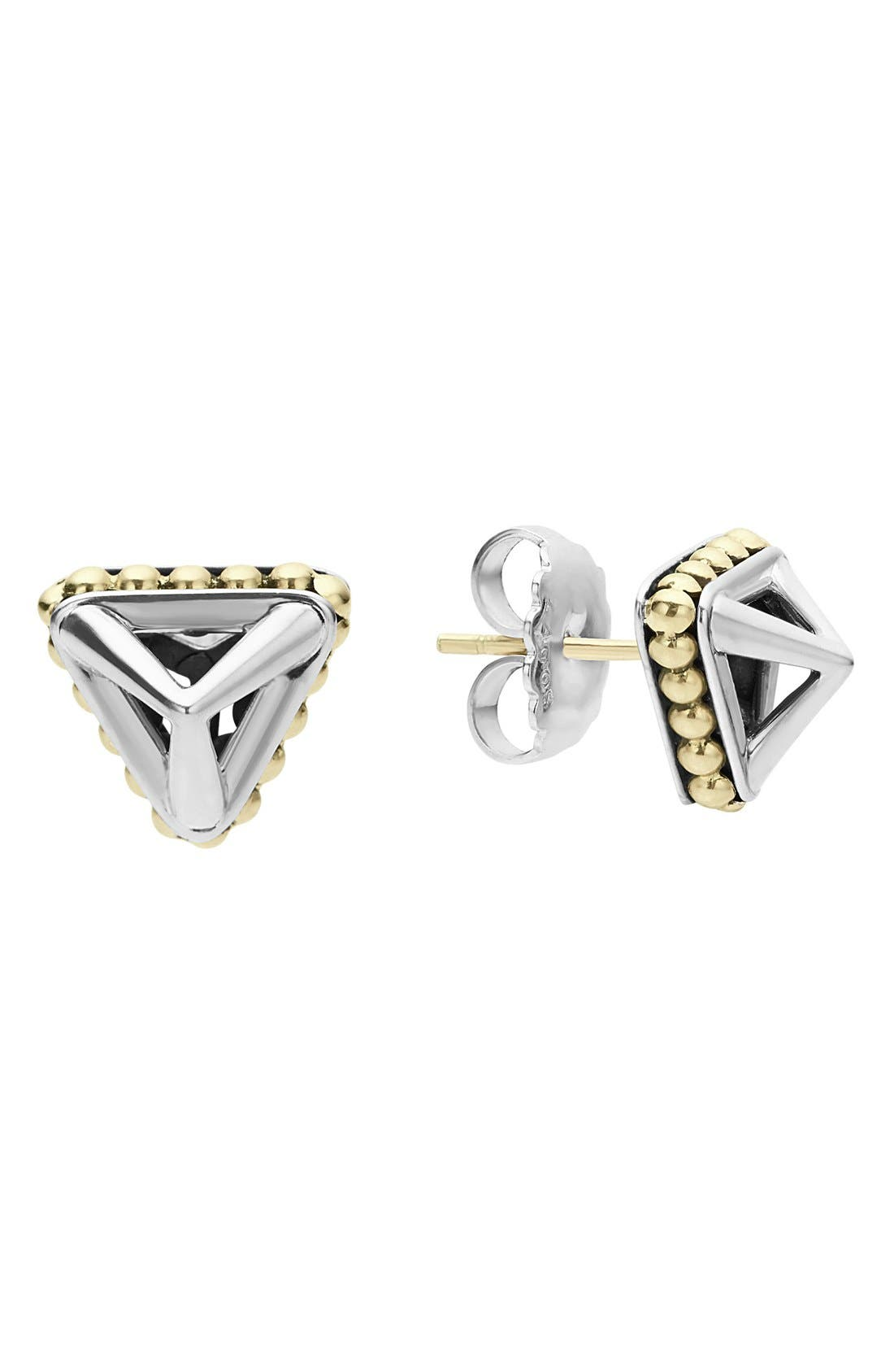KSL Pyramid Stud Earrings,                         Main,                         color, SILVER/ GOLD