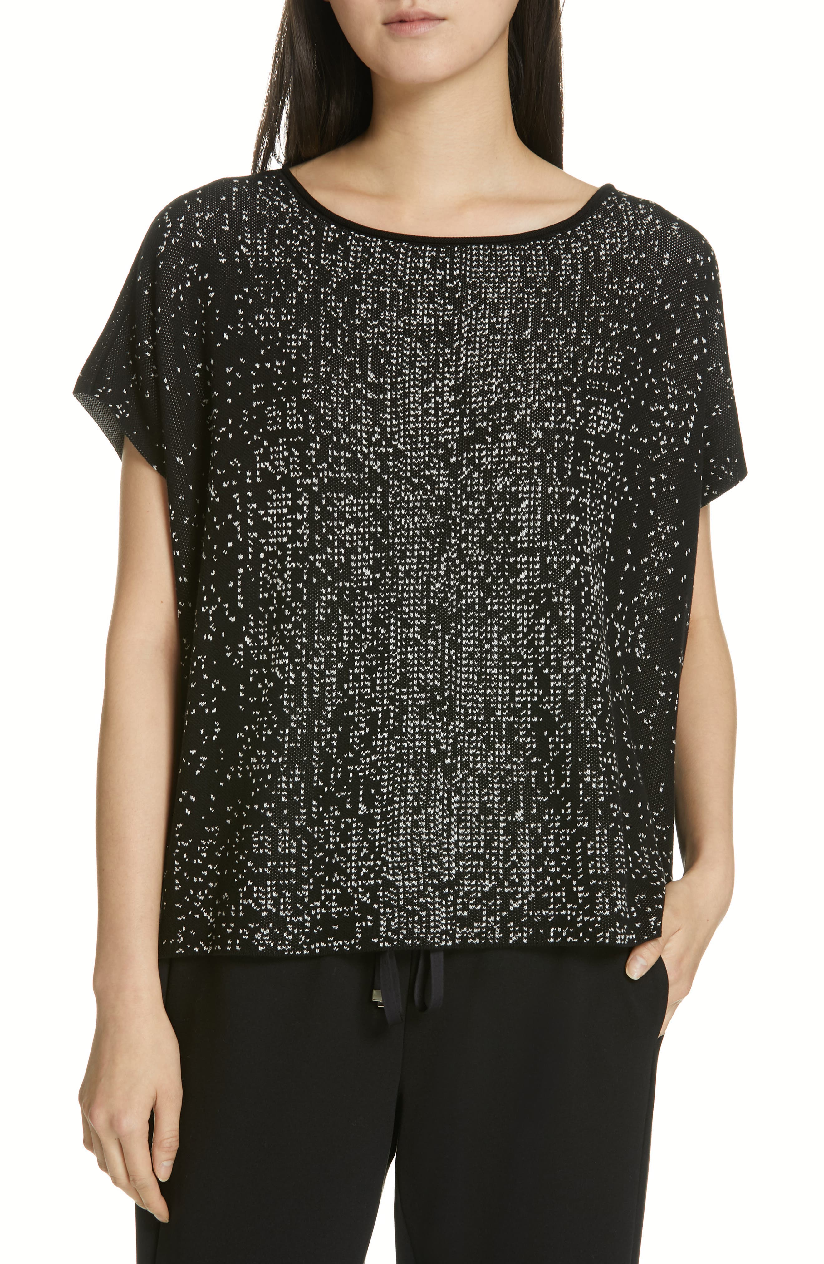 EILEEN FISHER Bateau Neck Top, Main, color, BLACK/ SOFT WHITE