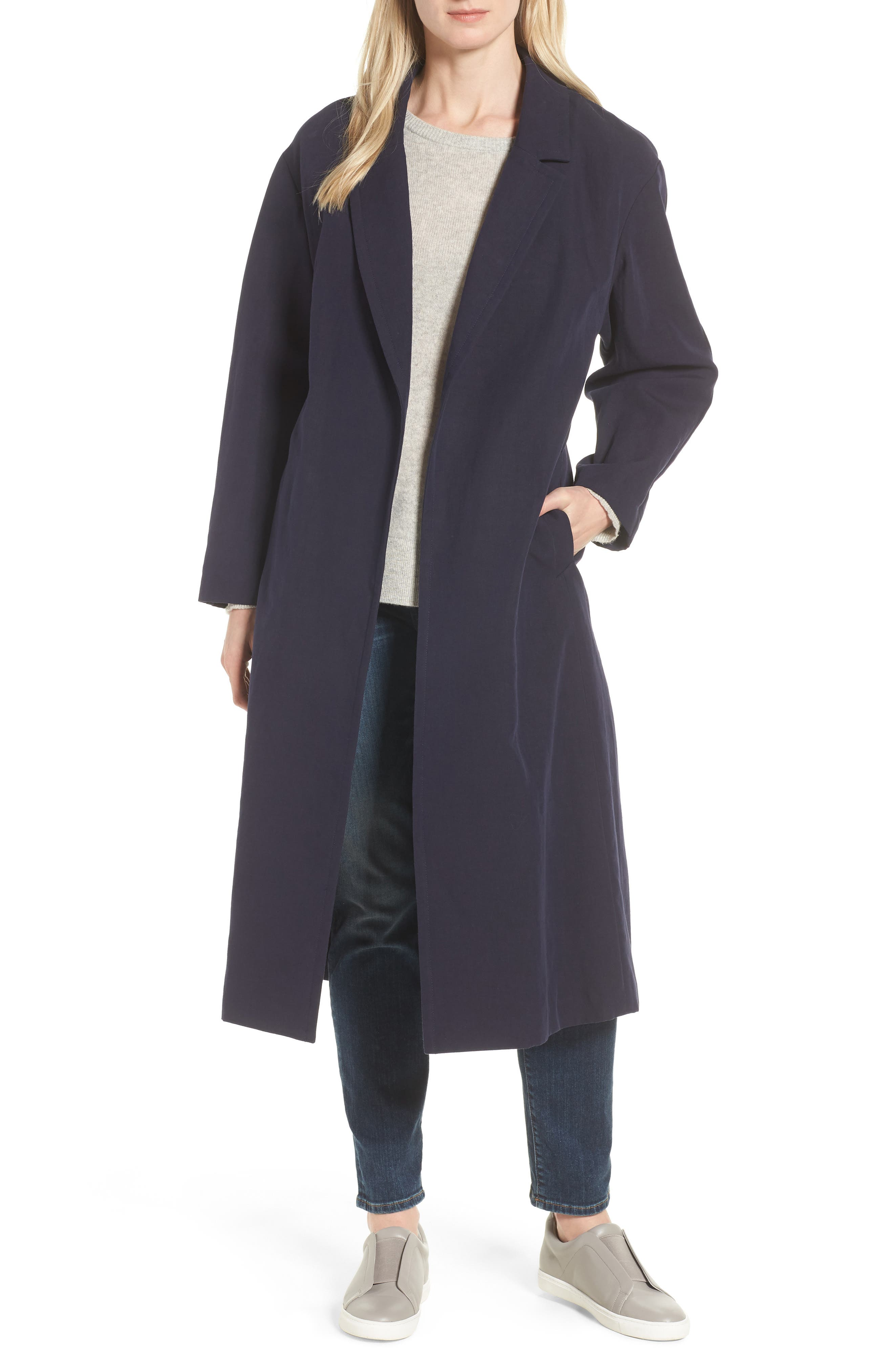 Double Face Wrap Maxi Jacket,                         Main,                         color, NAVY