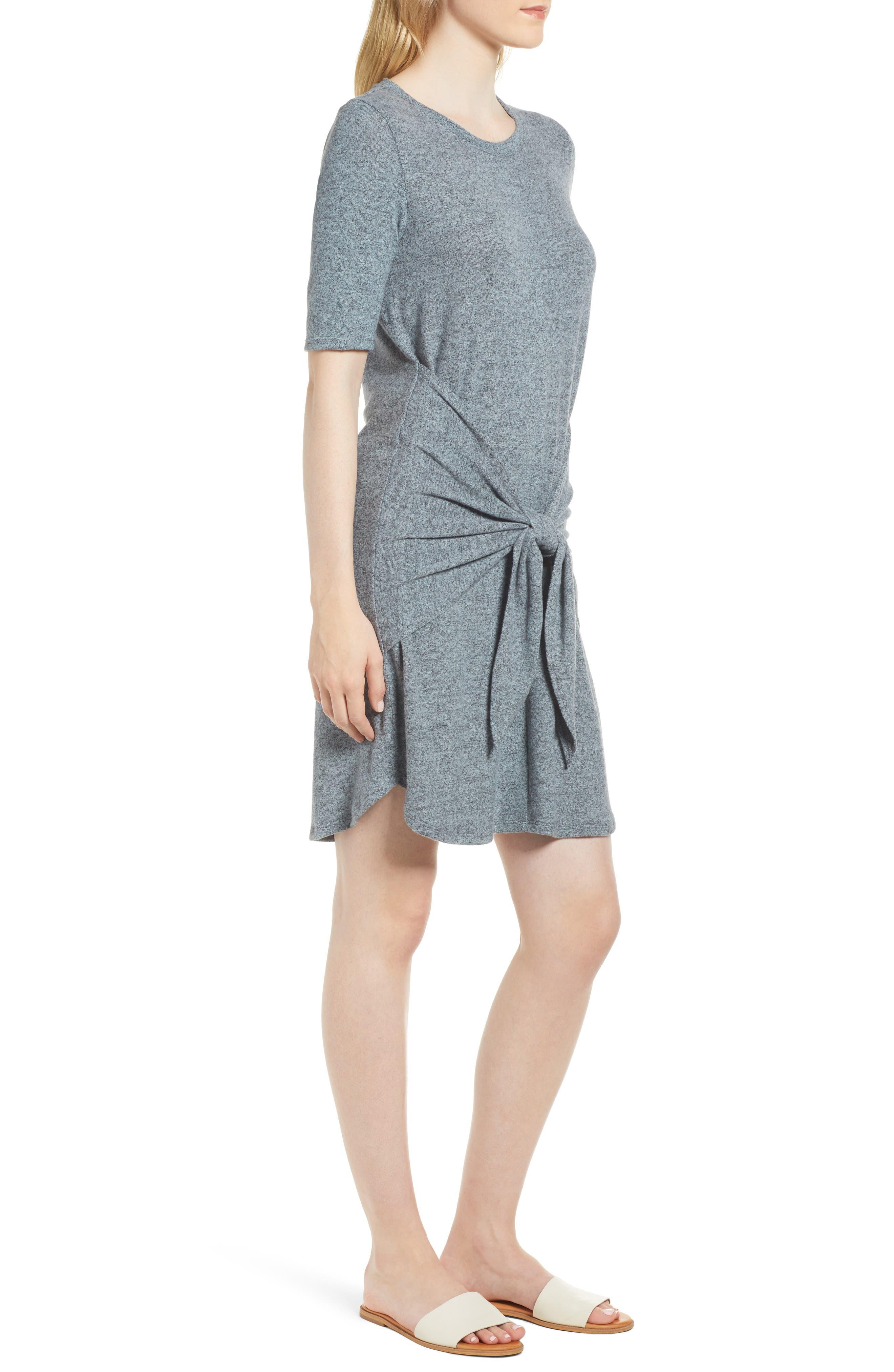 Caslon Off-Duty Tie Front Knit Dress,                             Alternate thumbnail 9, color,