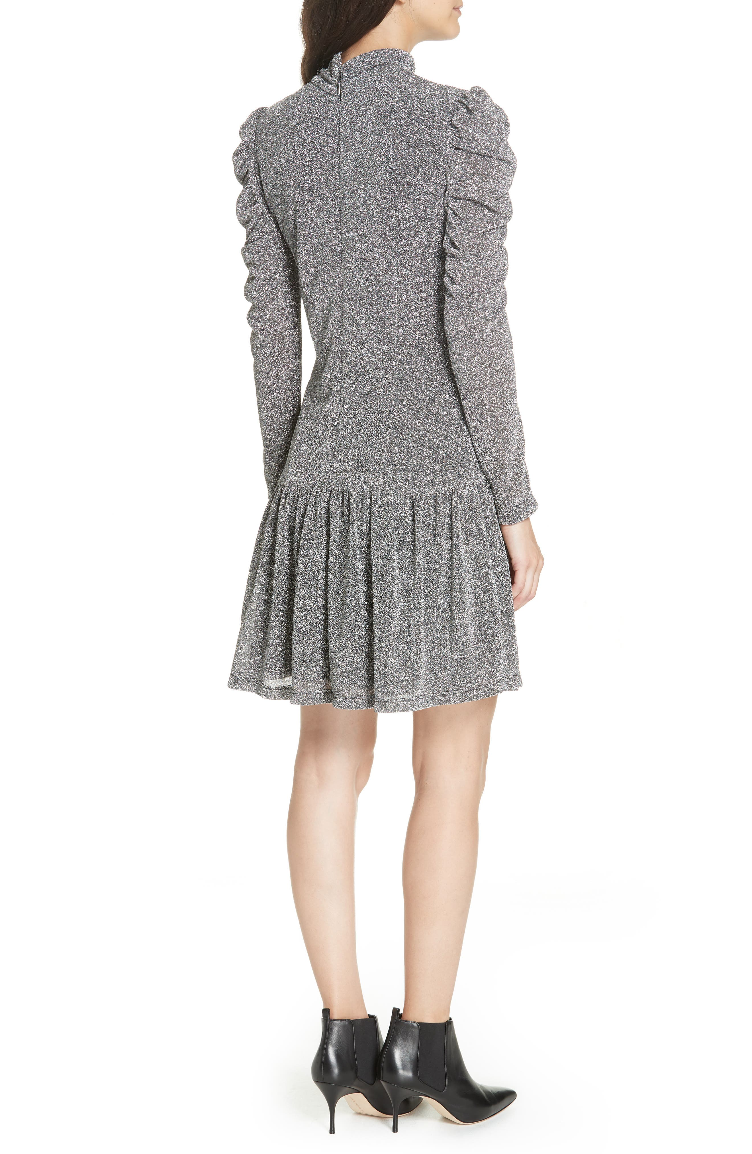 REBECCA TAYLOR,                             Gathered Metallic Jersey Dress,                             Alternate thumbnail 2, color,                             043