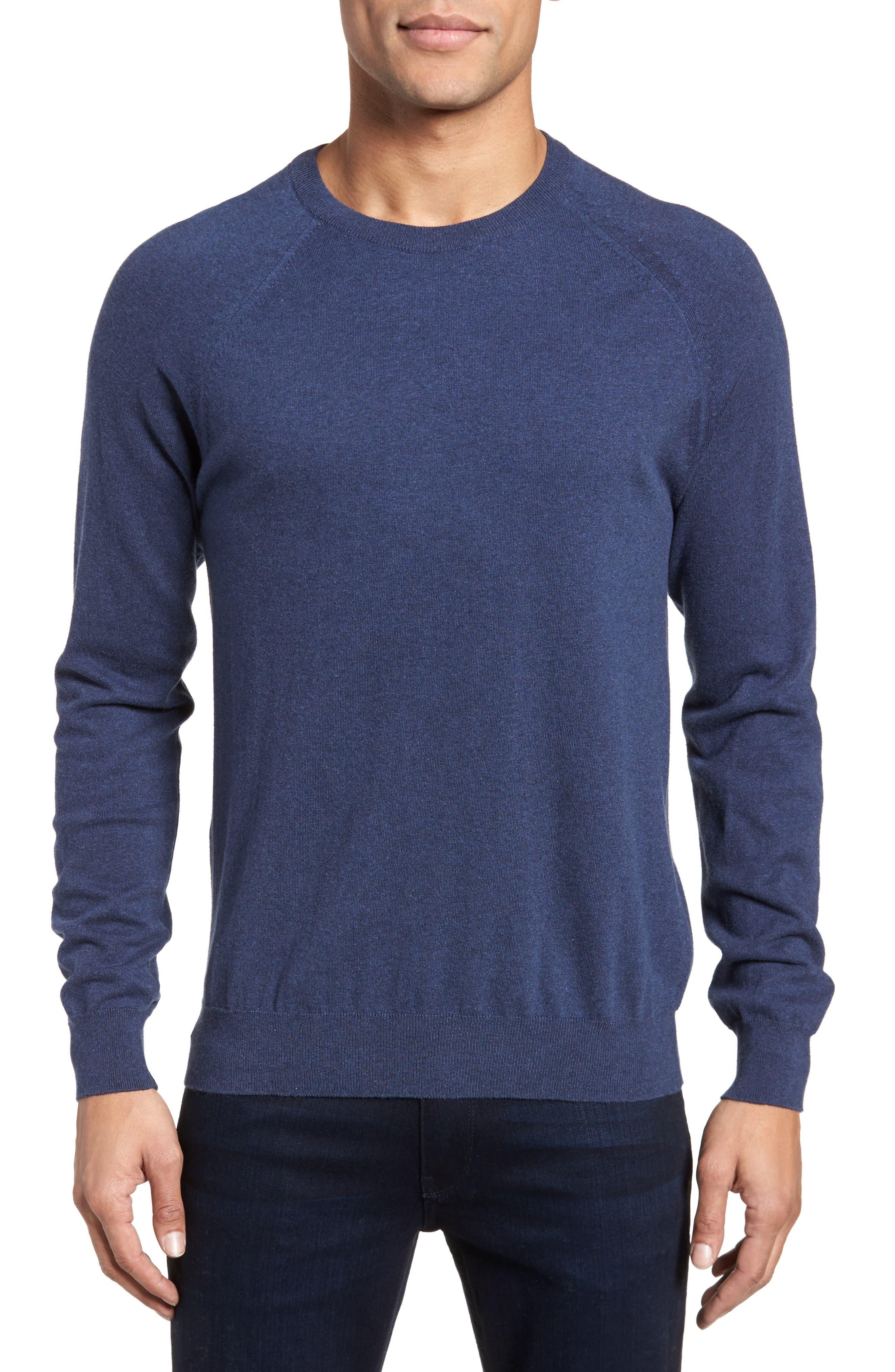 Regular Fit Stretch Cotton Sweater,                             Main thumbnail 1, color,                             INDIGO MELANGE