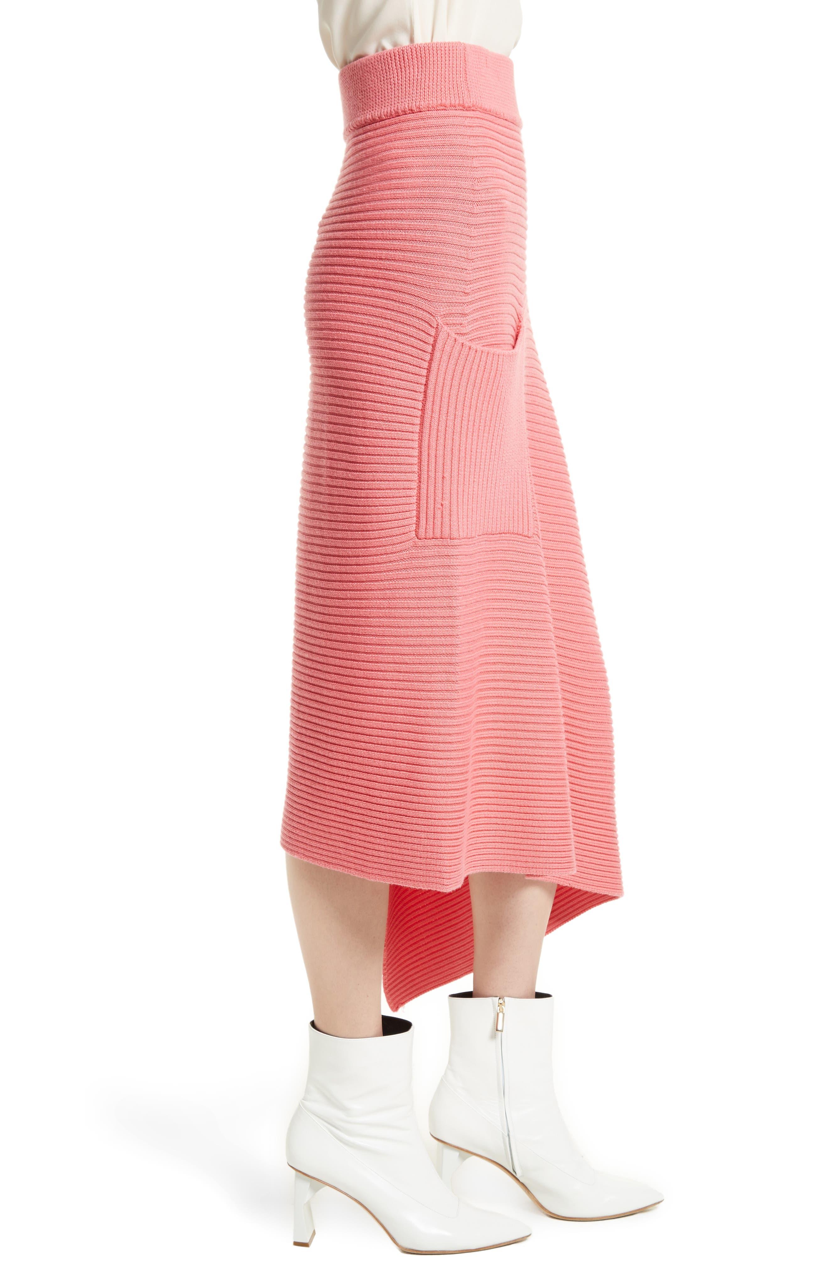 Asymmetrical Rib Merino Wool Skirt,                             Alternate thumbnail 3, color,                             650