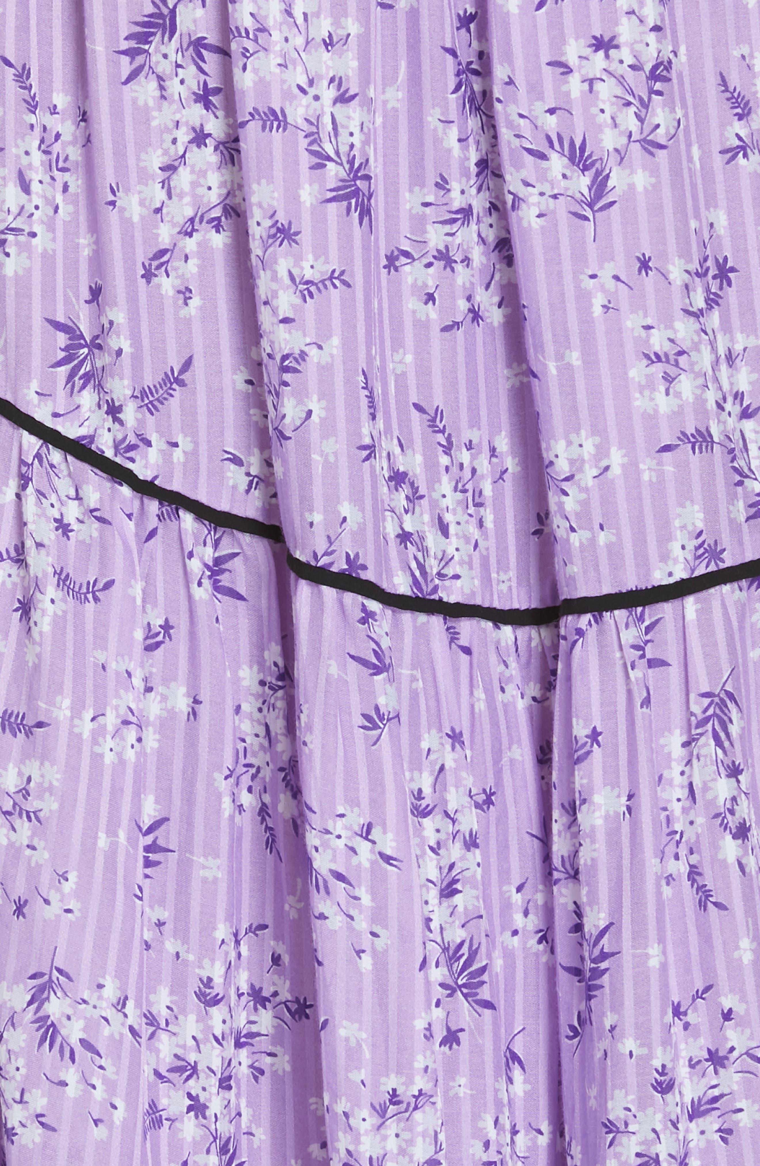 Joan Floral Print Cotton & Silk Midi Dress,                             Alternate thumbnail 5, color,                             LILAC