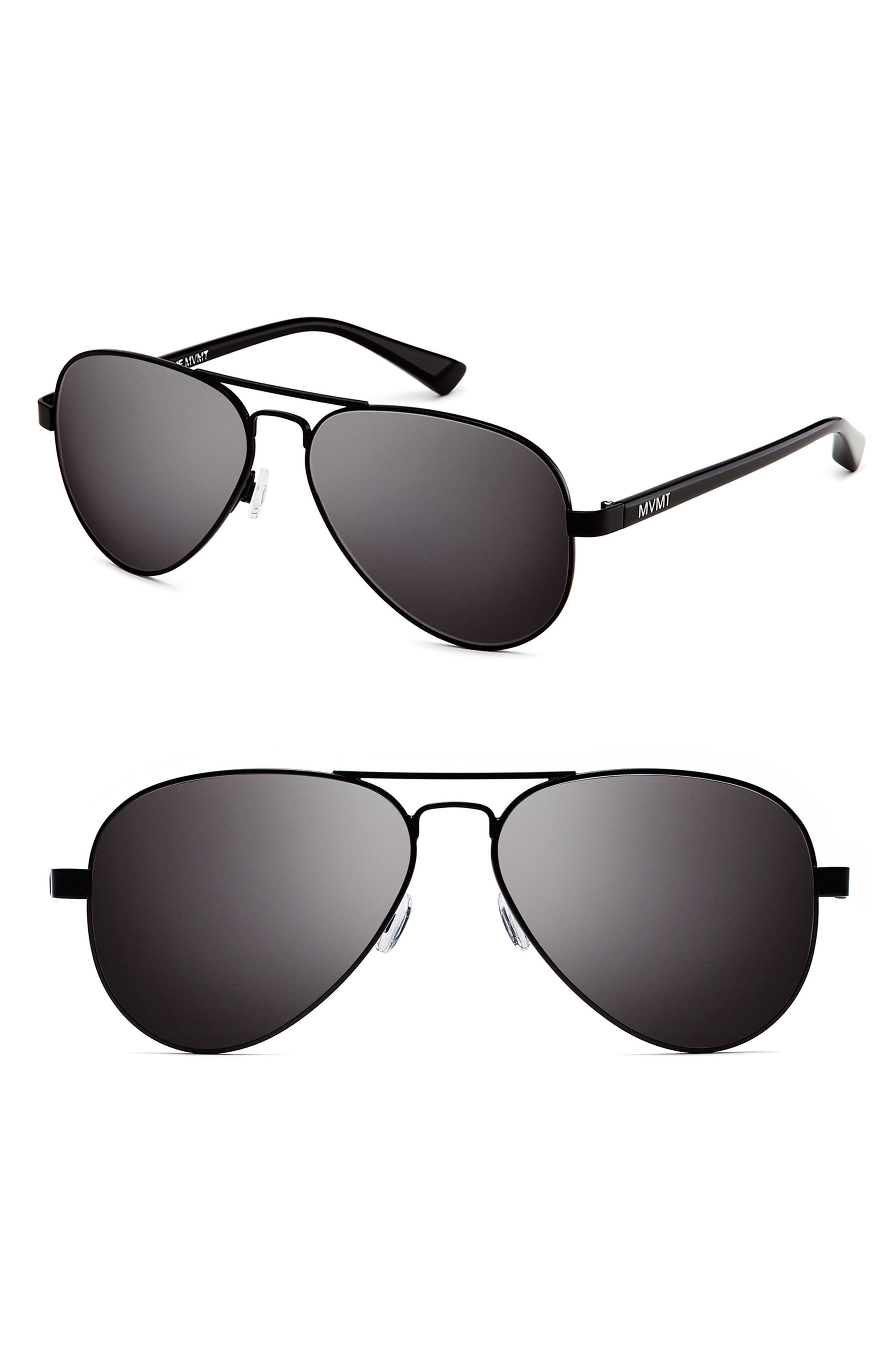 Runway 60mm Polarized Aviator Sunglasses,                             Main thumbnail 1, color,                             MATTE BLACK