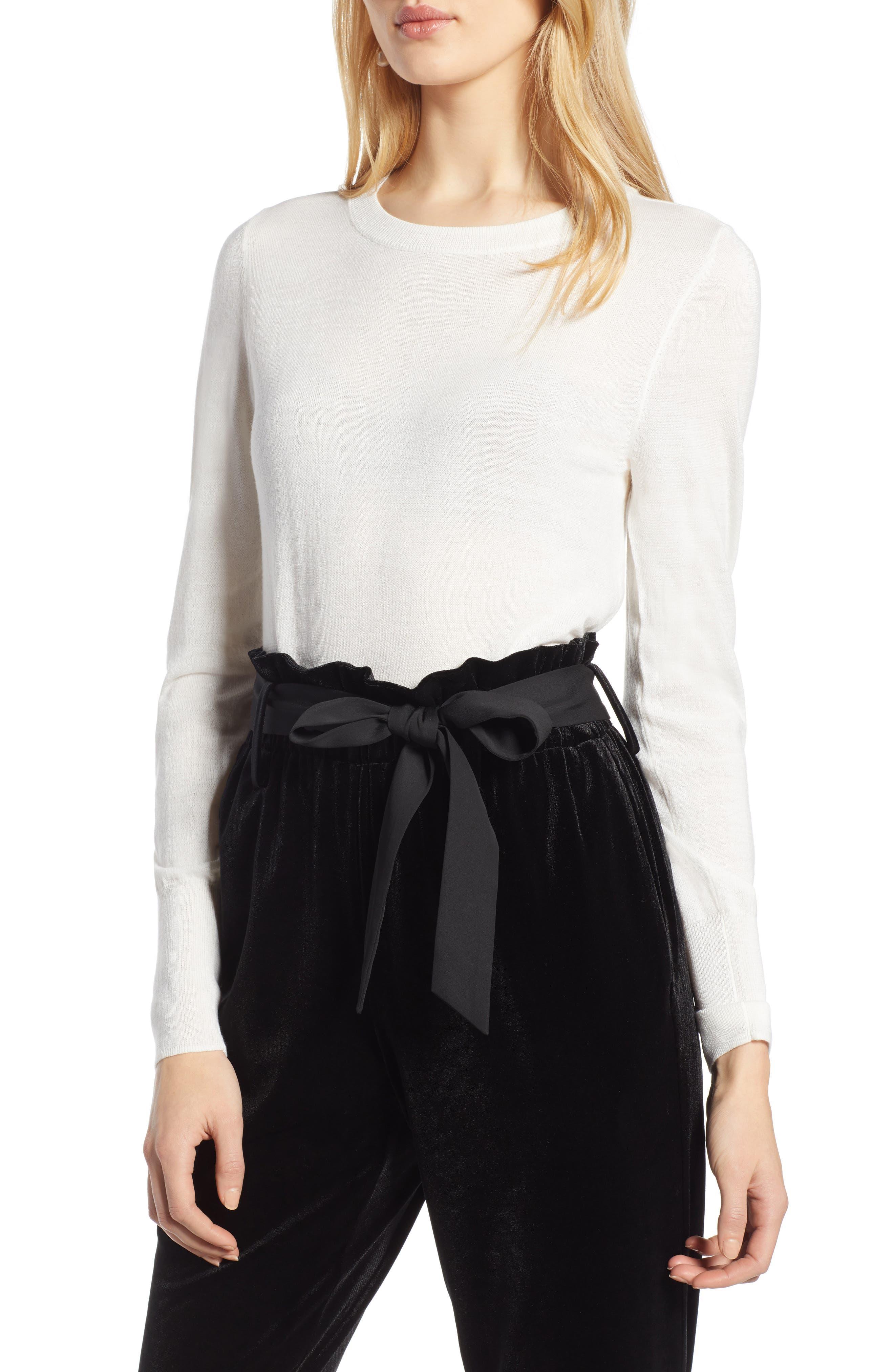 Petite Halogen Merino Wool Blend Sweater, Ivory