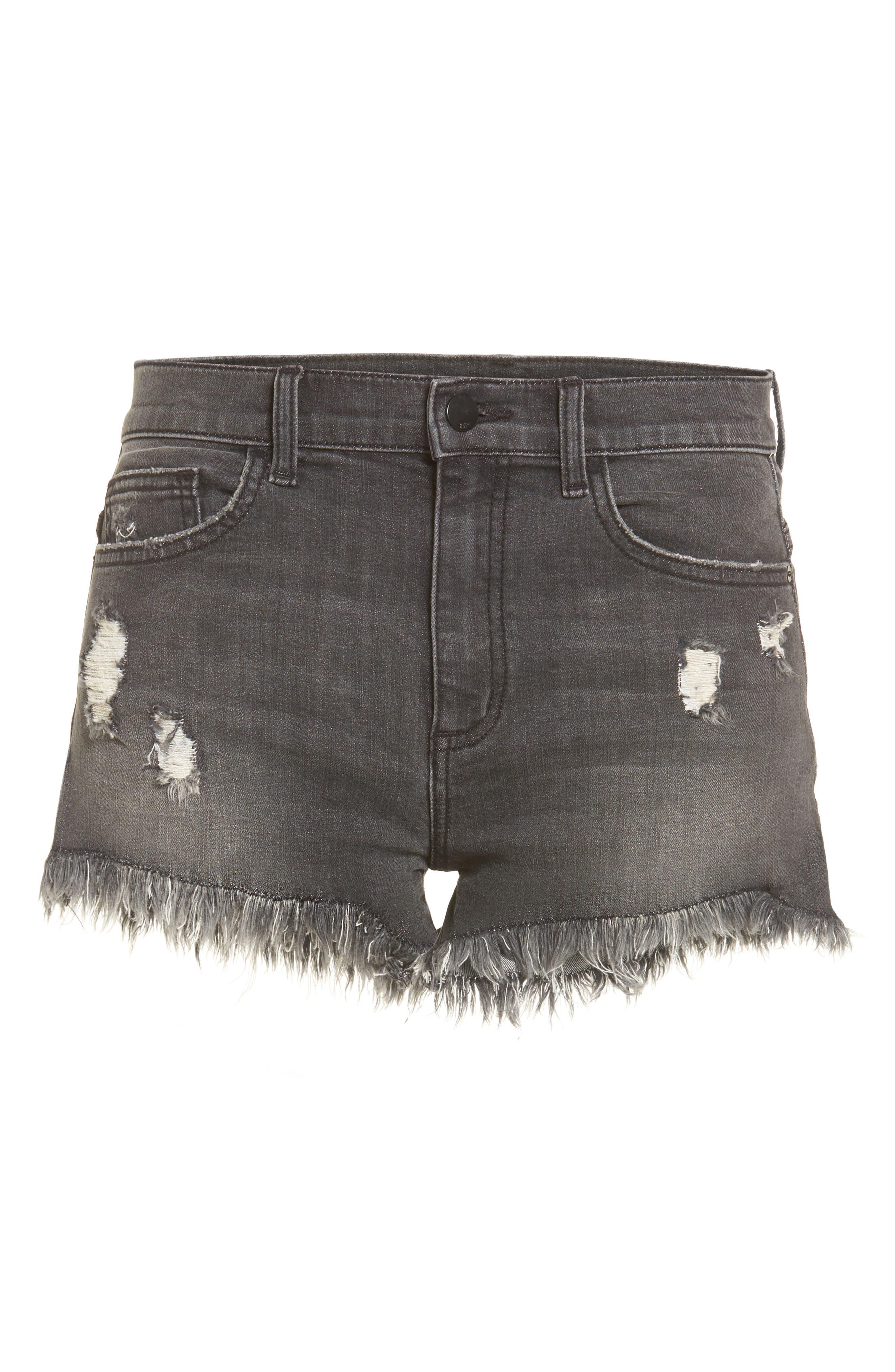 Frayed Hem Denim Shorts,                             Alternate thumbnail 6, color,                             001