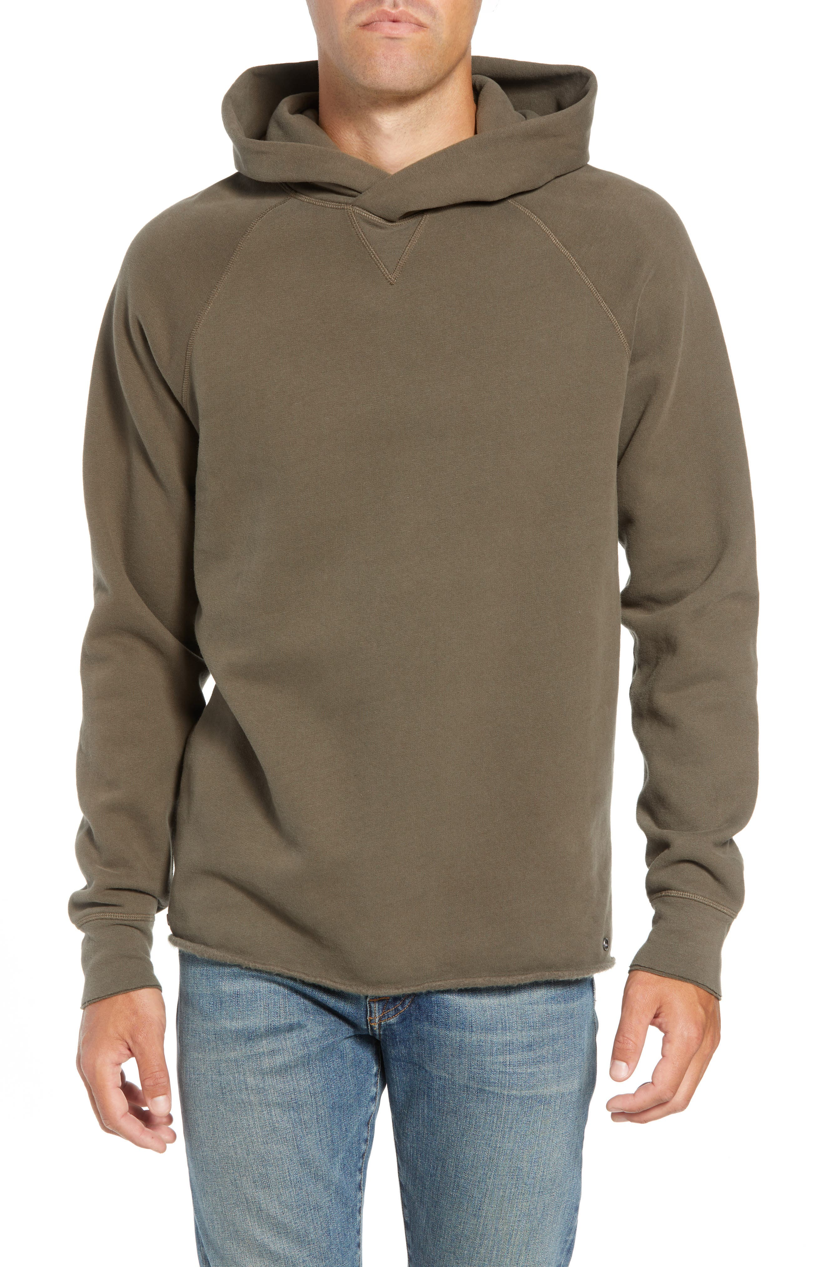 Unhemmed Regular Fit Hoodie,                         Main,                         color, ARMY GREEN