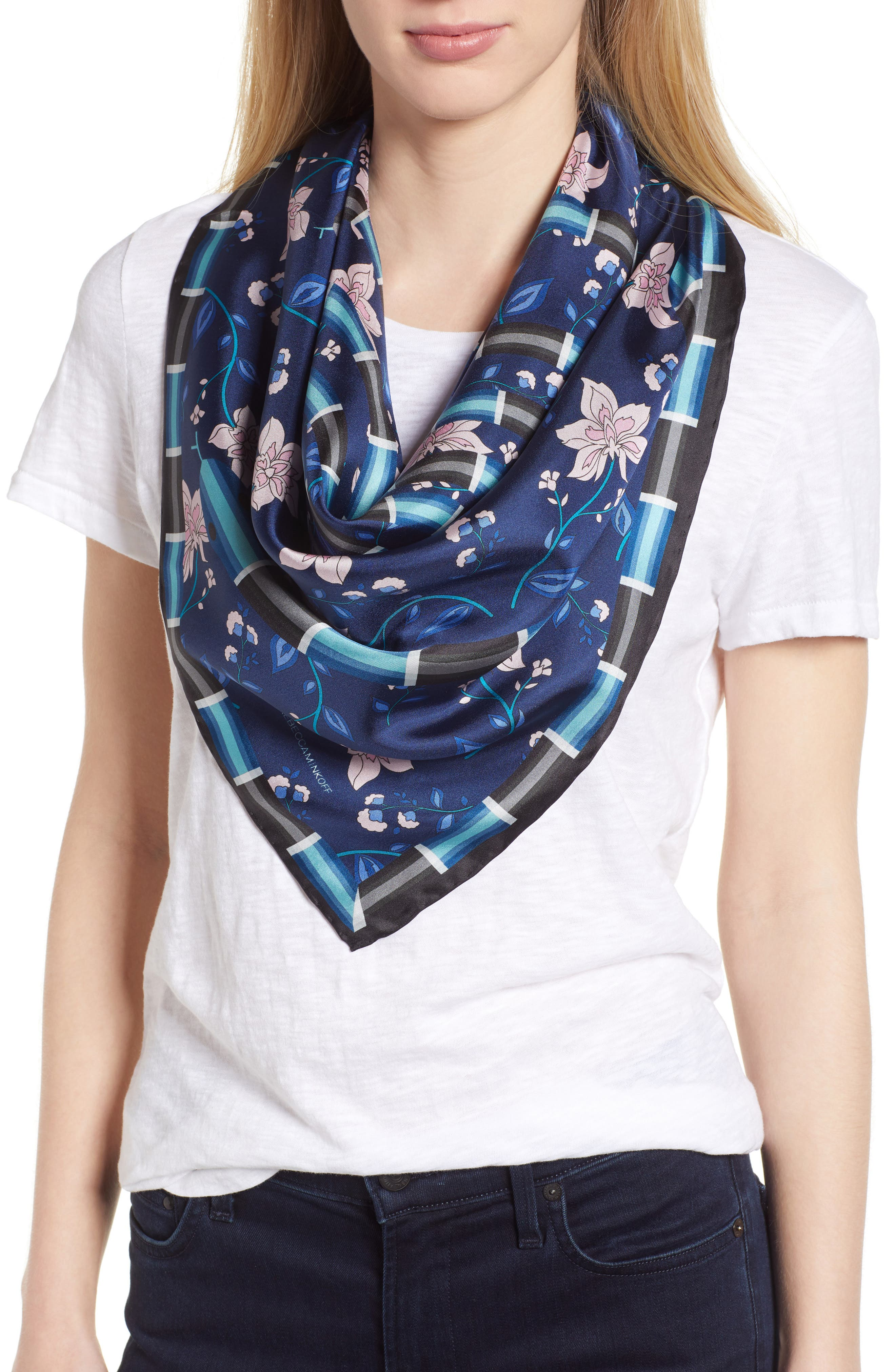 Spiral Snake Square Silk Scarf,                         Main,                         color, NAVY