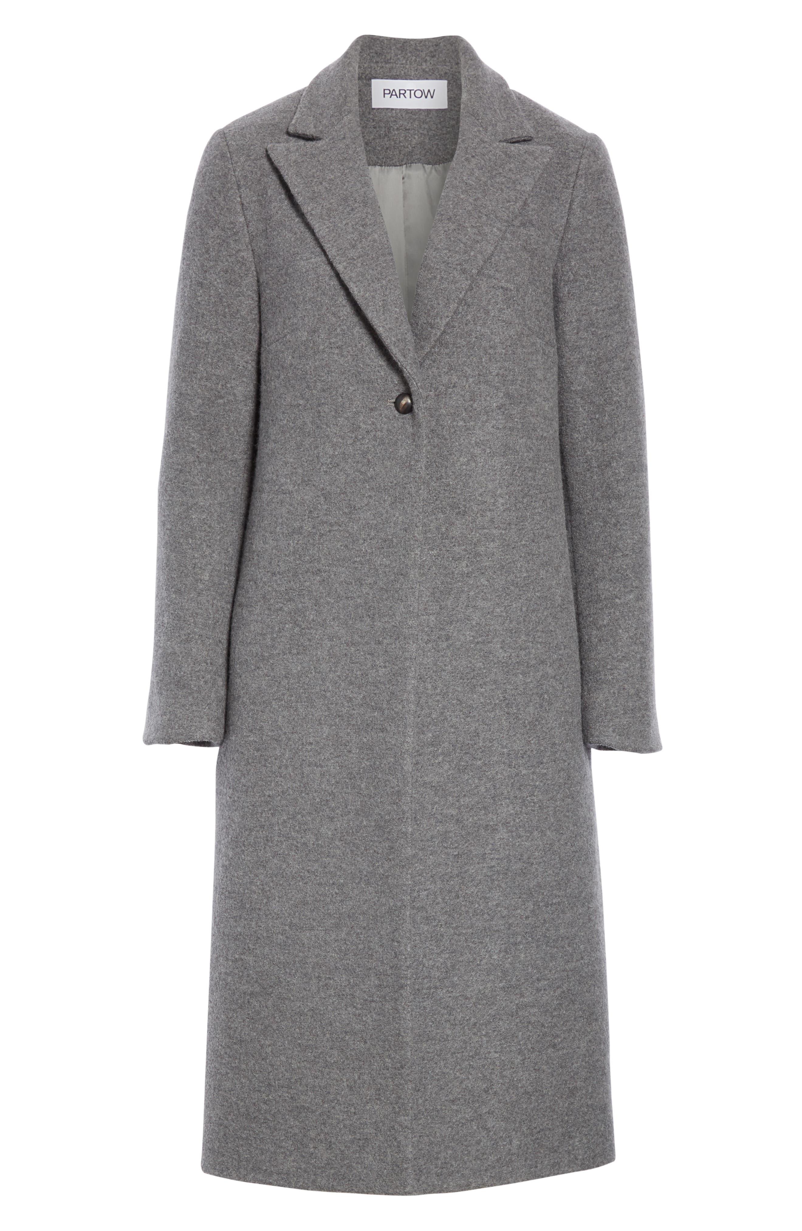 One Button Wool Coat,                             Alternate thumbnail 6, color,                             GREY MELANGE