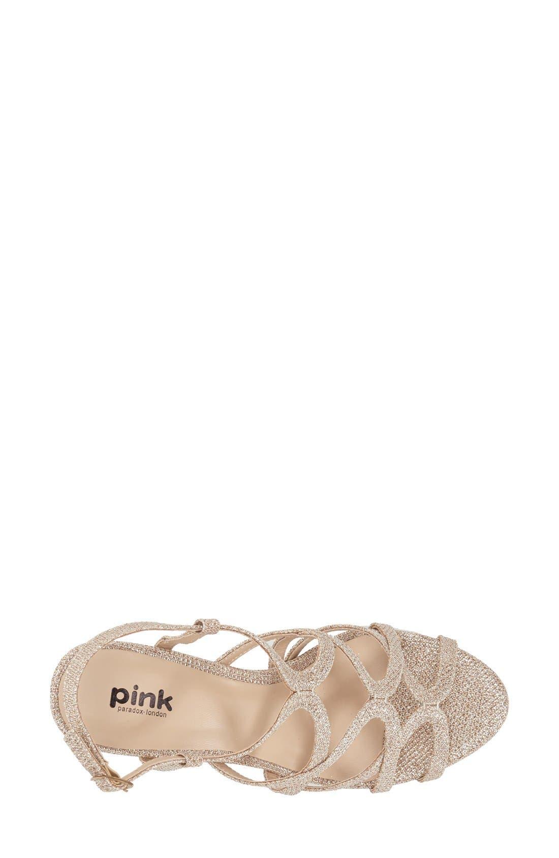 'Rich Glitter' Sandal,                             Alternate thumbnail 3, color,                             CHAMPAGNE GLITTER MESH