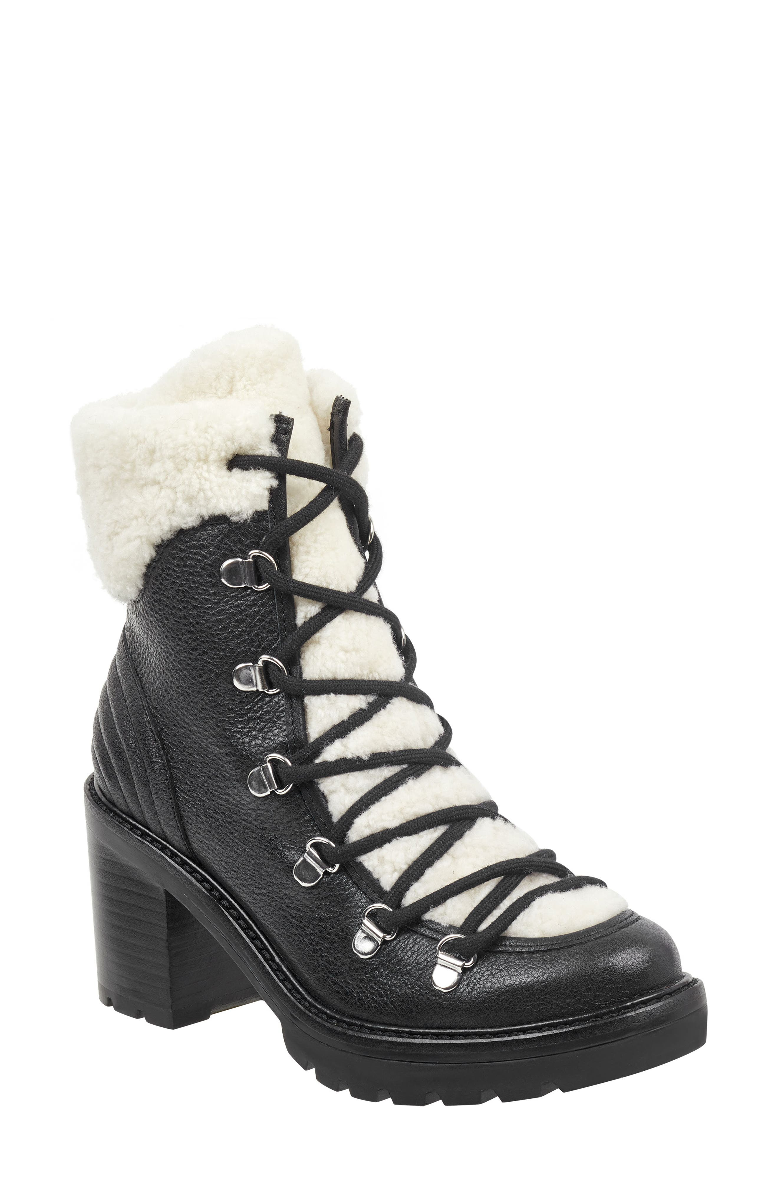 MARC FISHER LTD Daven Genuine Shearling Lace Up Boot, Main, color, BLACK LEATHER