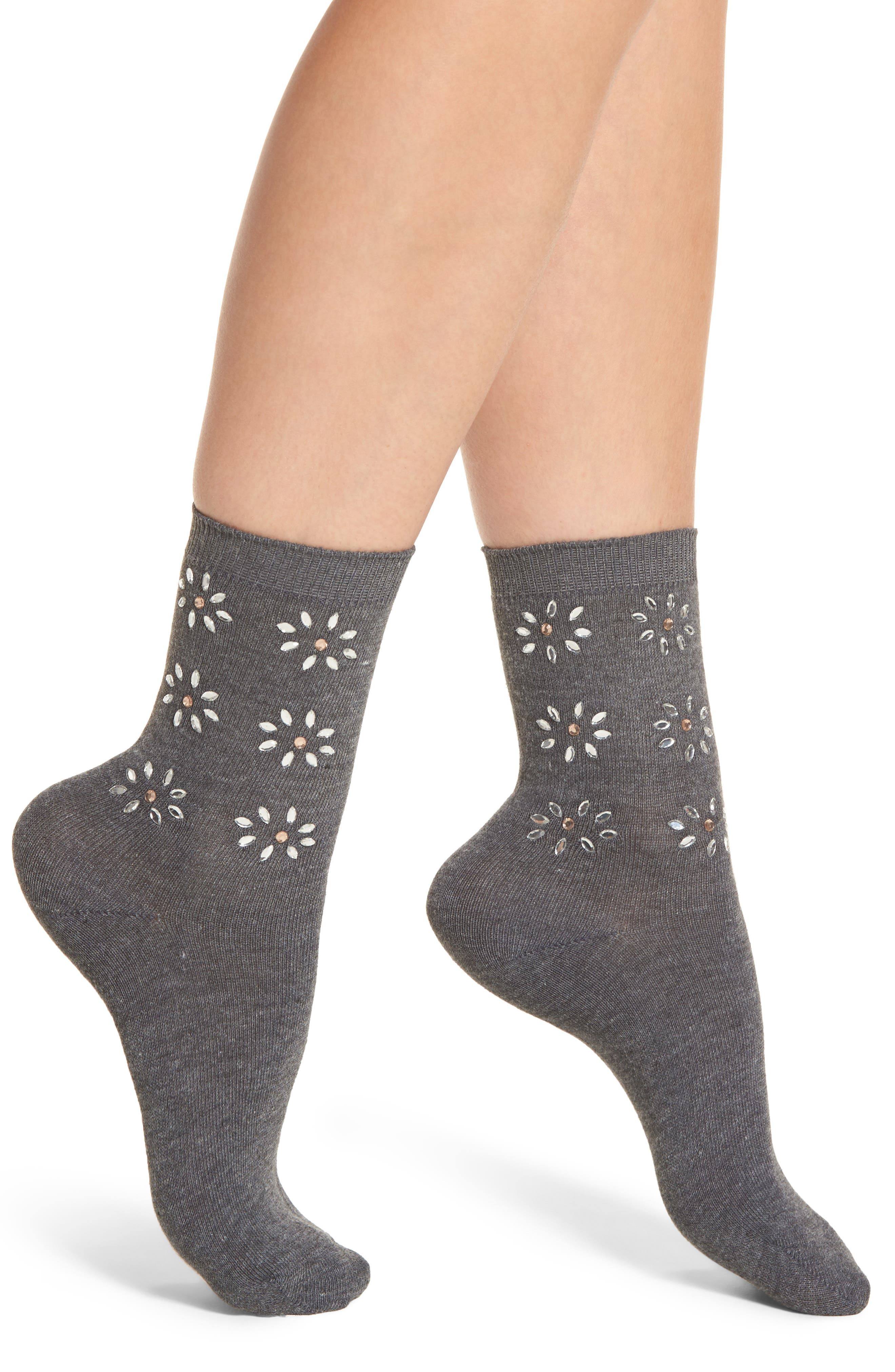 Crystal Flower Crew Socks,                         Main,                         color, 020