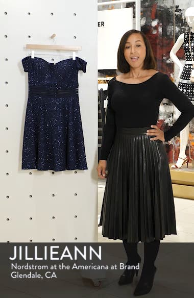 Off the Shoulder Glitter Knit Dress, sales video thumbnail