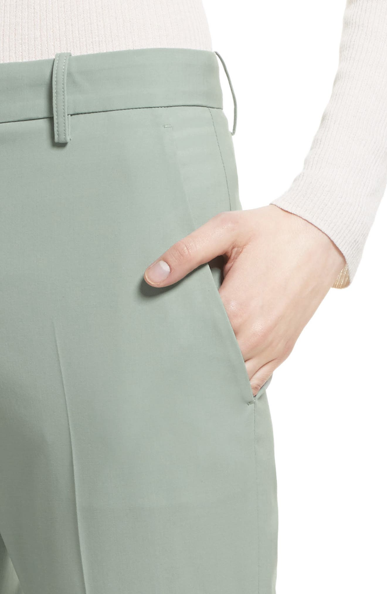 Stretch Wool Crop Pants,                             Alternate thumbnail 4, color,                             392
