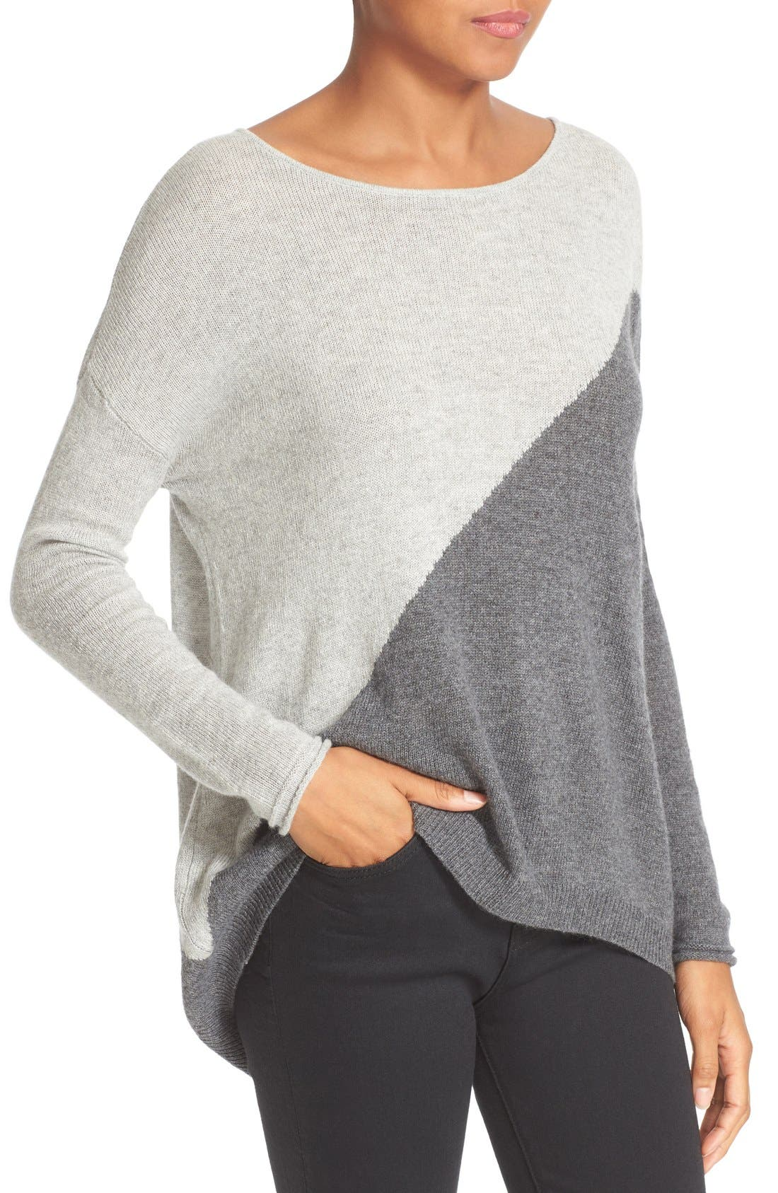 Abbie Colorblock High/Low Pullover,                             Alternate thumbnail 4, color,                             054