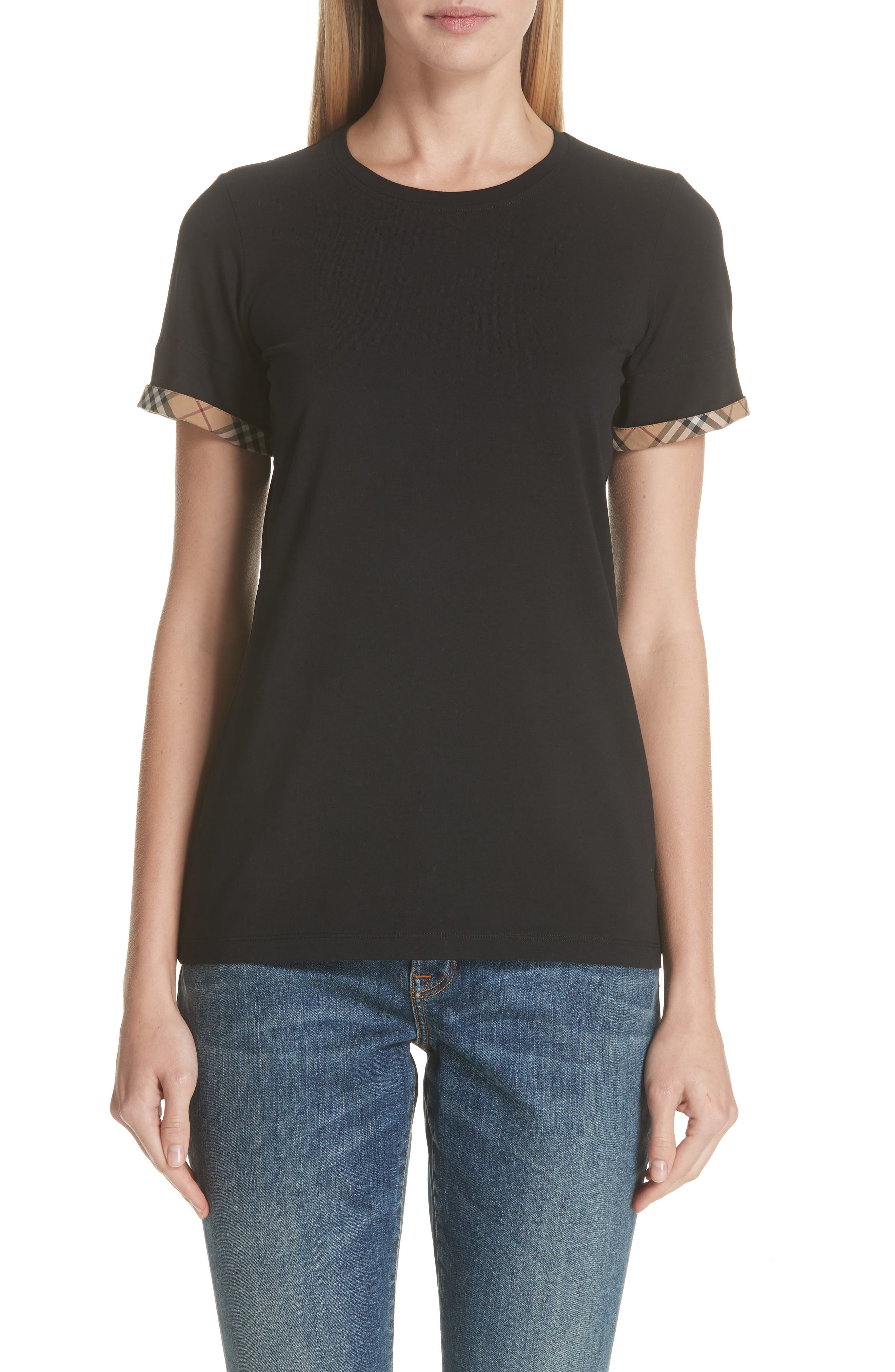 Kabini Check Cuff Stretch Cotton Tee,                             Main thumbnail 1, color,                             BLACK