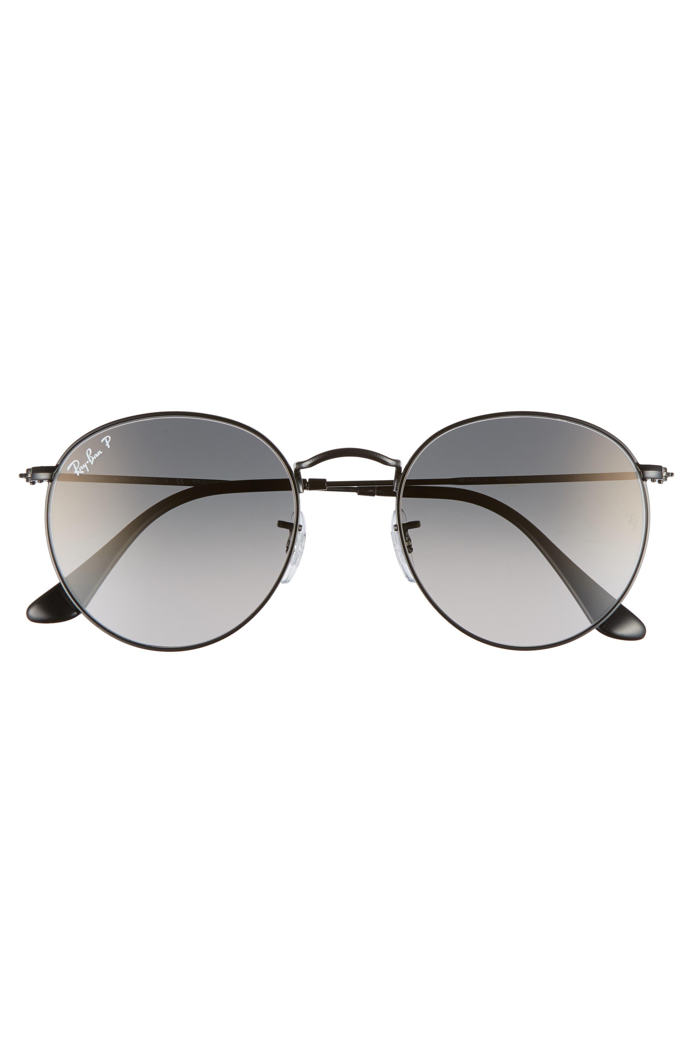 53mm Polarized Round Sunglasses,                             Alternate thumbnail 3, color,                             BLACK GRADIENT