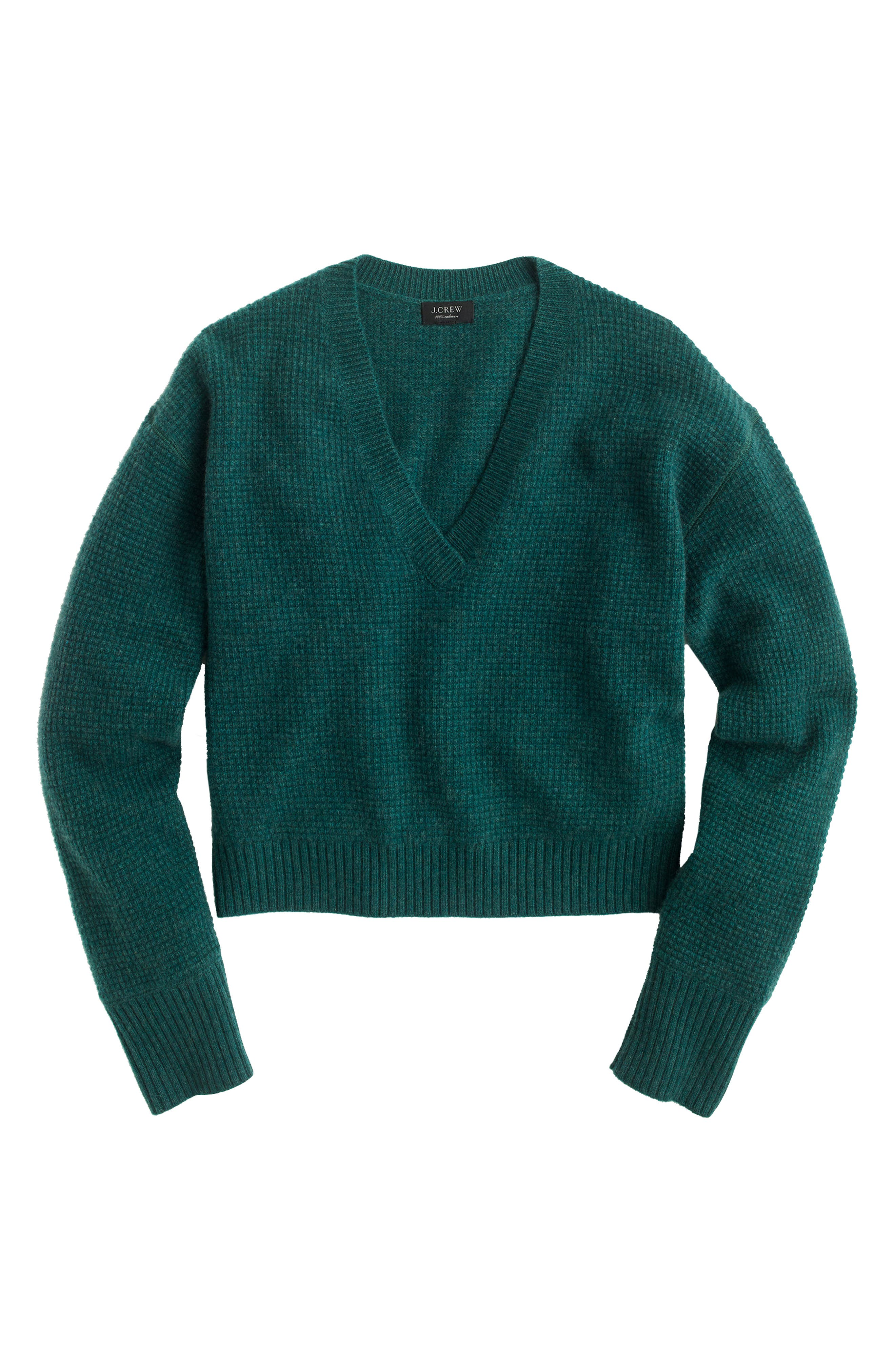 V-Neck Crop Thermal Cashmere Sweater,                             Alternate thumbnail 4, color,