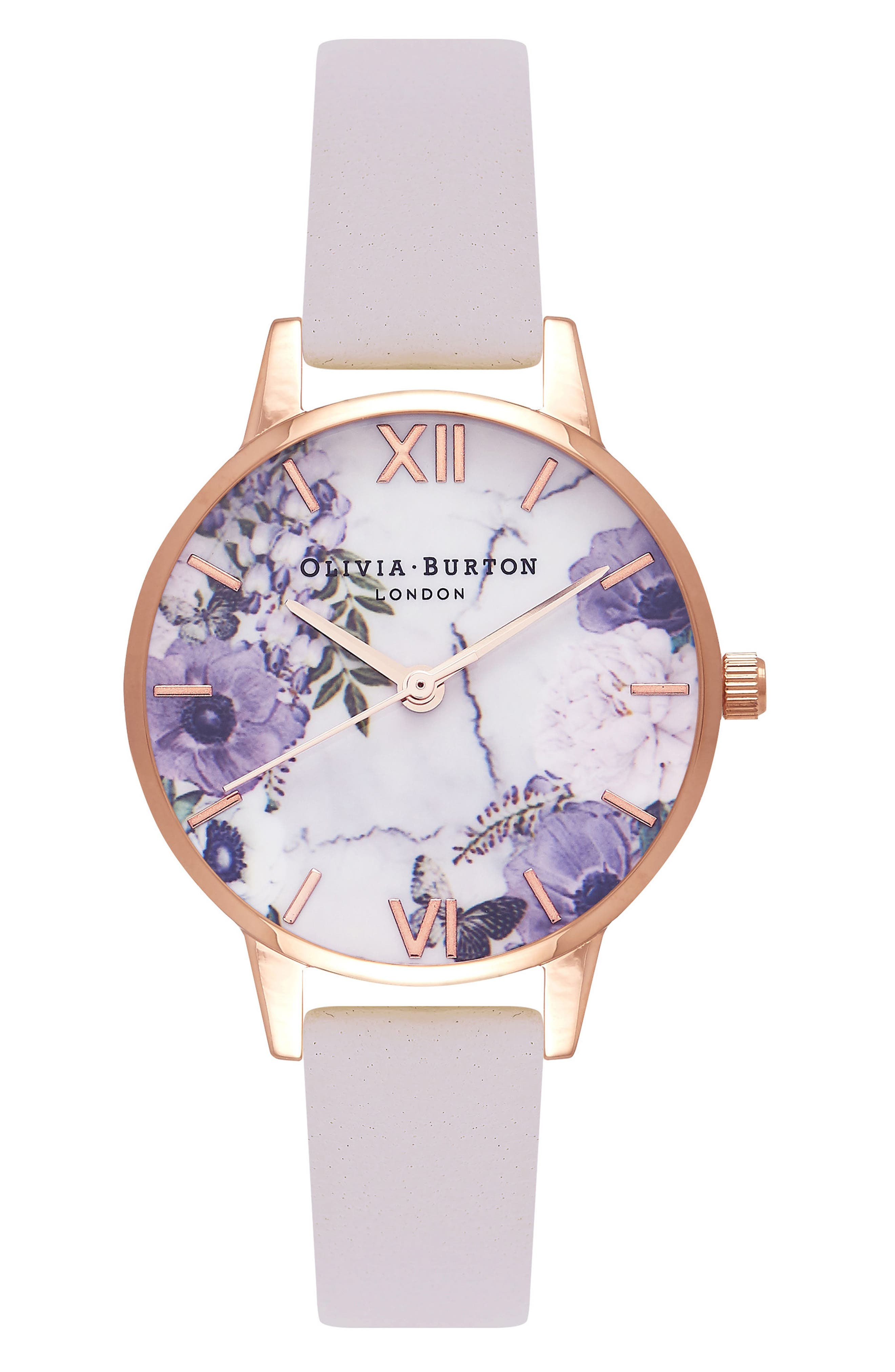 Marble Floral Leather Strap Watch, 30mm,                         Main,                         color, 110