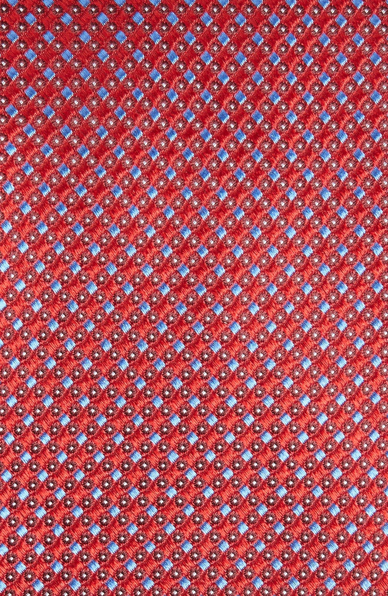NORDSTROM MEN'S SHOP,                             Bagni Check Silk Tie,                             Alternate thumbnail 2, color,                             RED