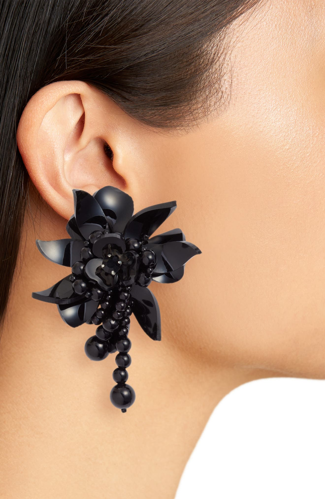 Flower Field Petal Earrings,                             Alternate thumbnail 2, color,                             BLACK