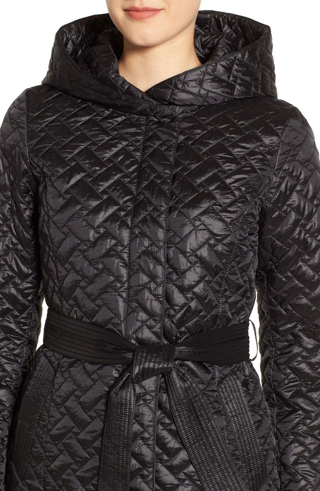 'Thermore' Water Repellent Quilted Coat,                             Alternate thumbnail 4, color,                             001