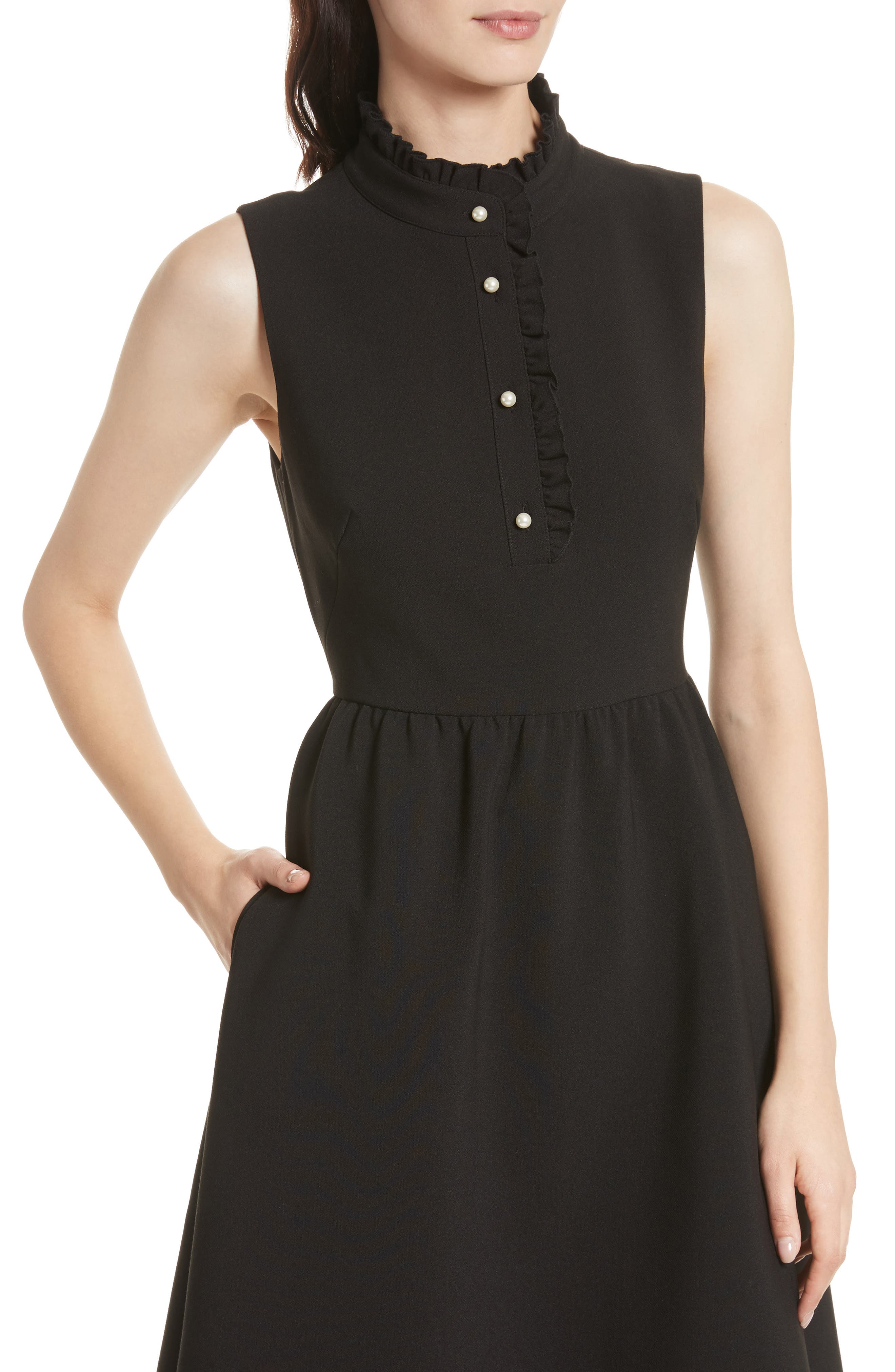 ruffle front crepe dress,                             Alternate thumbnail 4, color,                             001