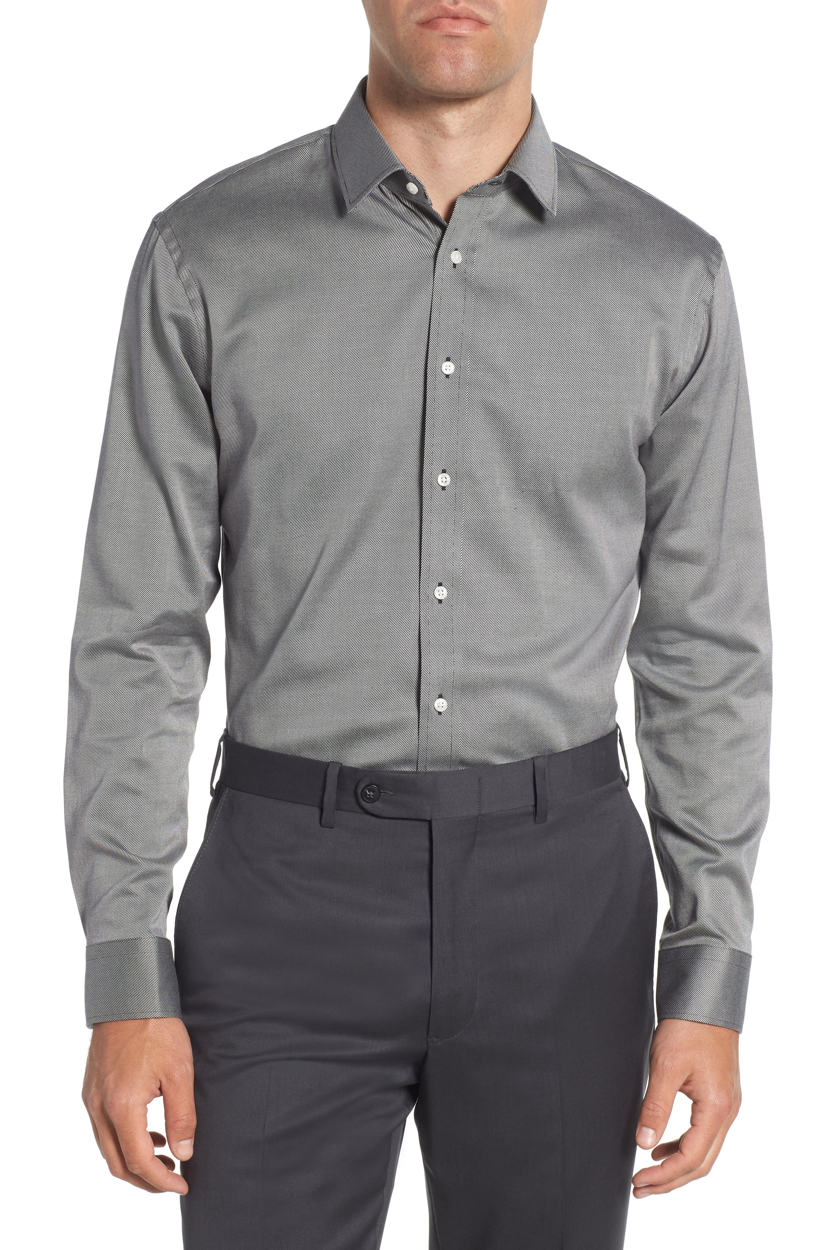 Trim Fit Twill Dress Shirt,                         Main,                         color, 001