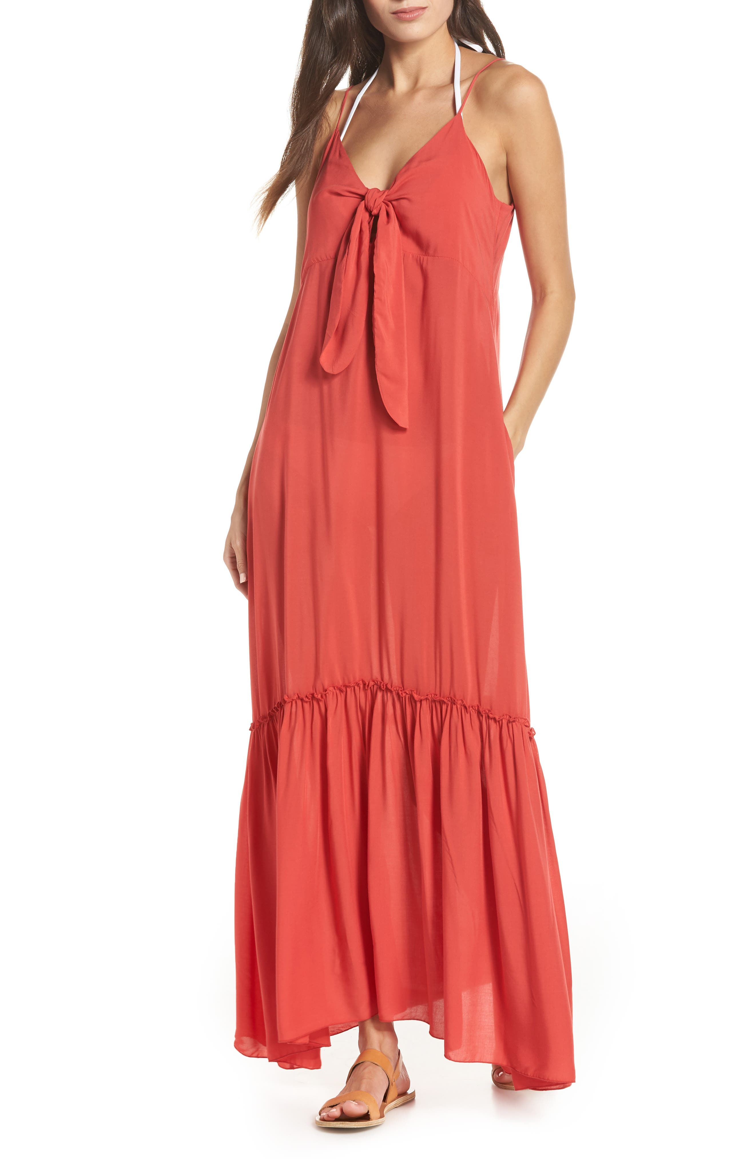 Elan Maxi Cover-Up Dress, Coral