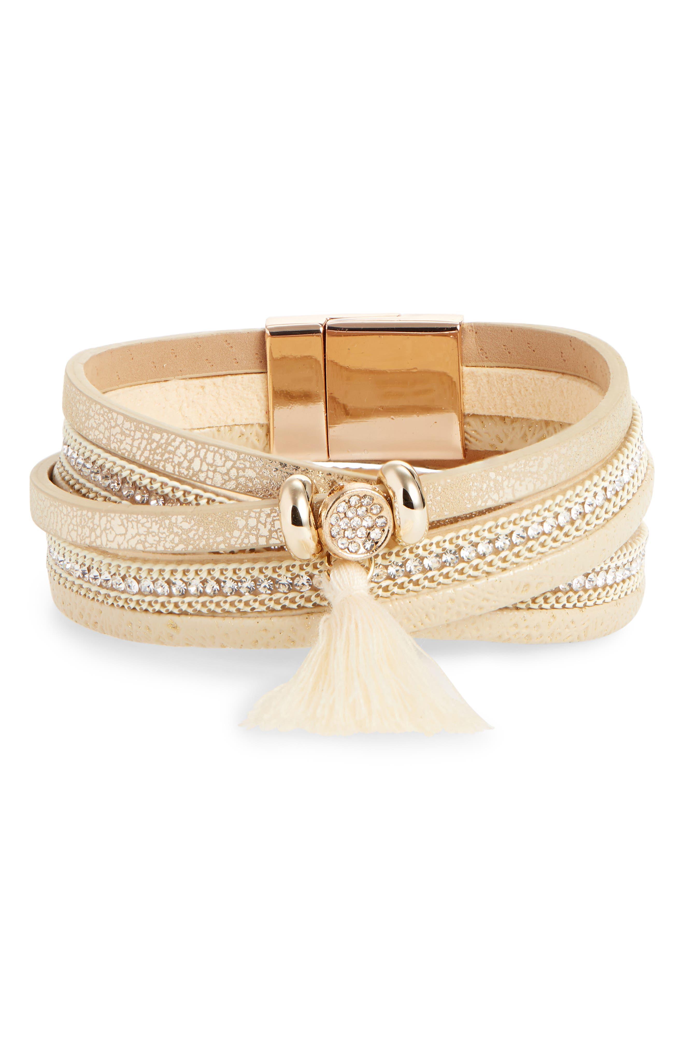 Tassel Leather & Crystal Multi Row Bracelet,                             Main thumbnail 1, color,                             GOLD/ IVORY