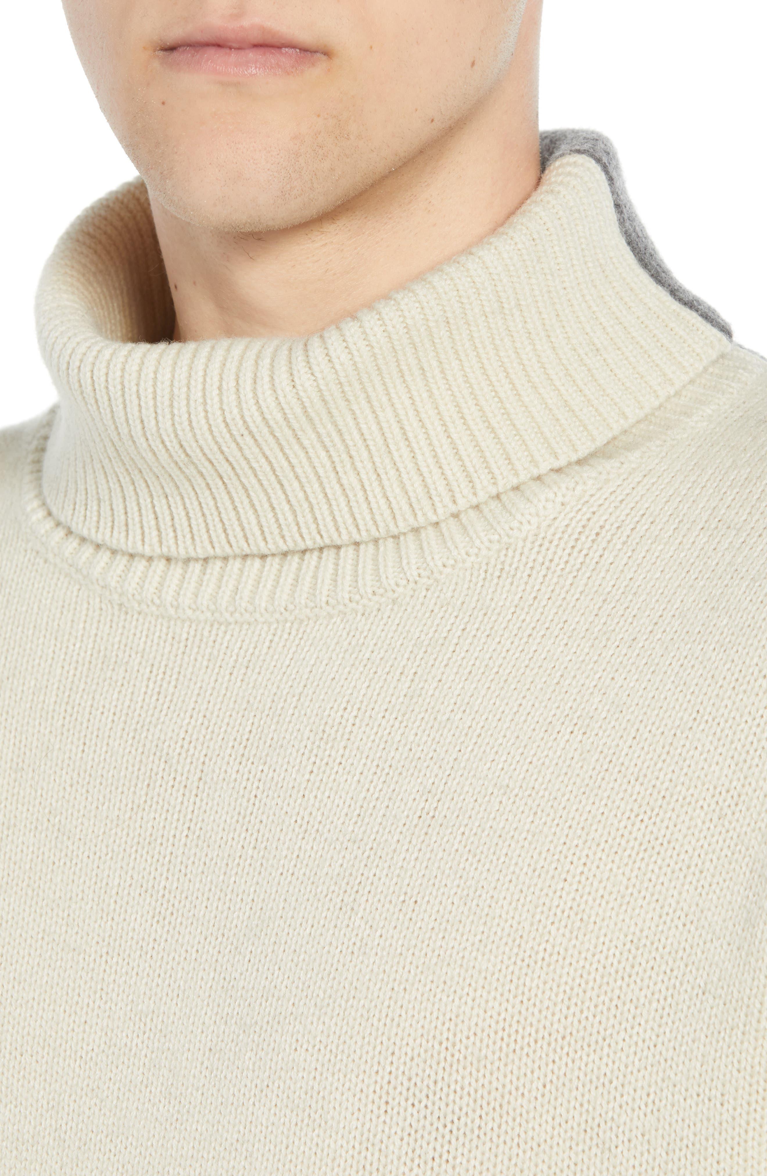 Colorblock Turtleneck Sweater,                             Alternate thumbnail 4, color,                             FOG MID GREY MELANGE