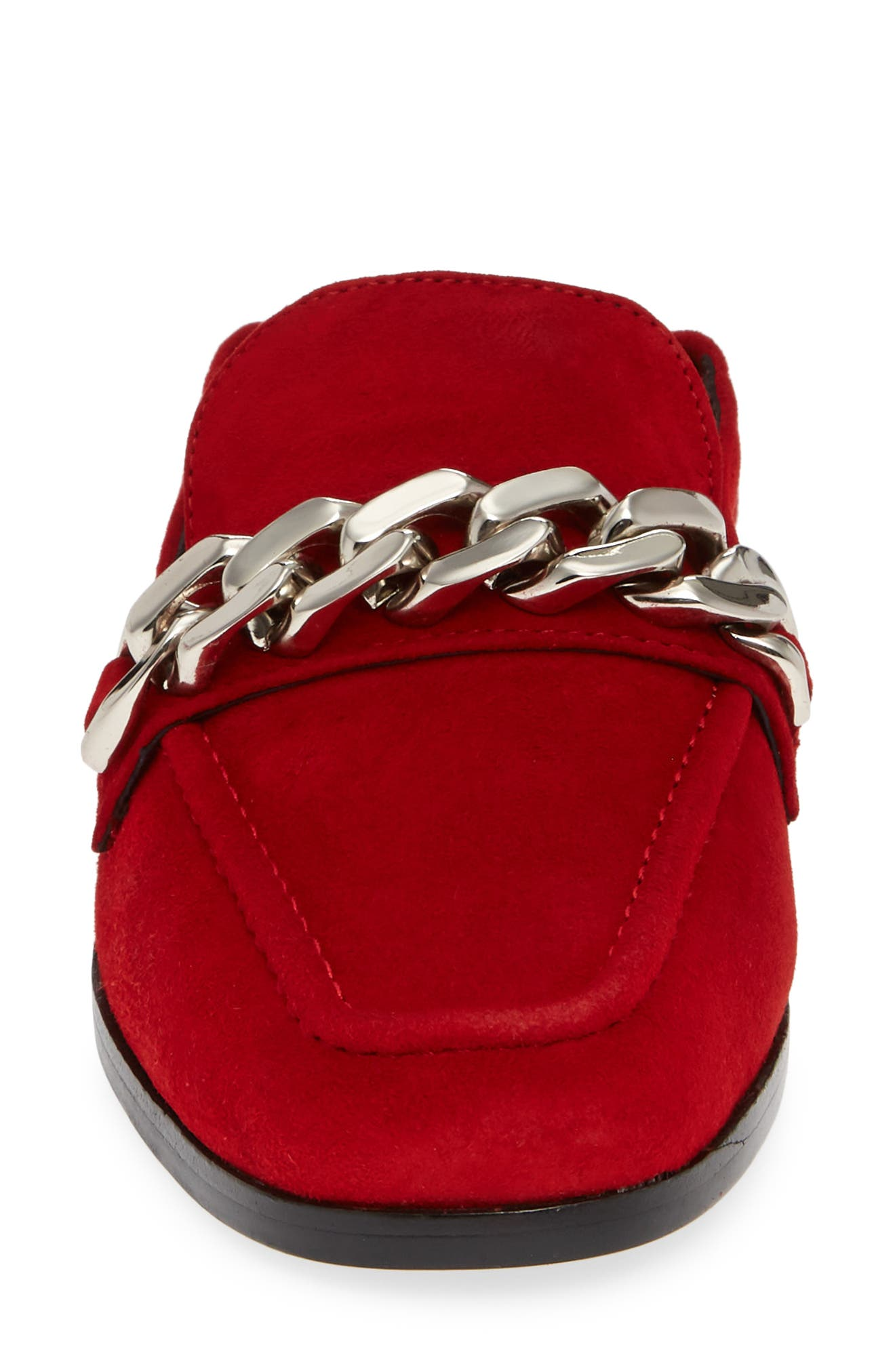 Jesse Convertible Heel Loafer,                             Alternate thumbnail 5, color,                             RED SUEDE SILVER