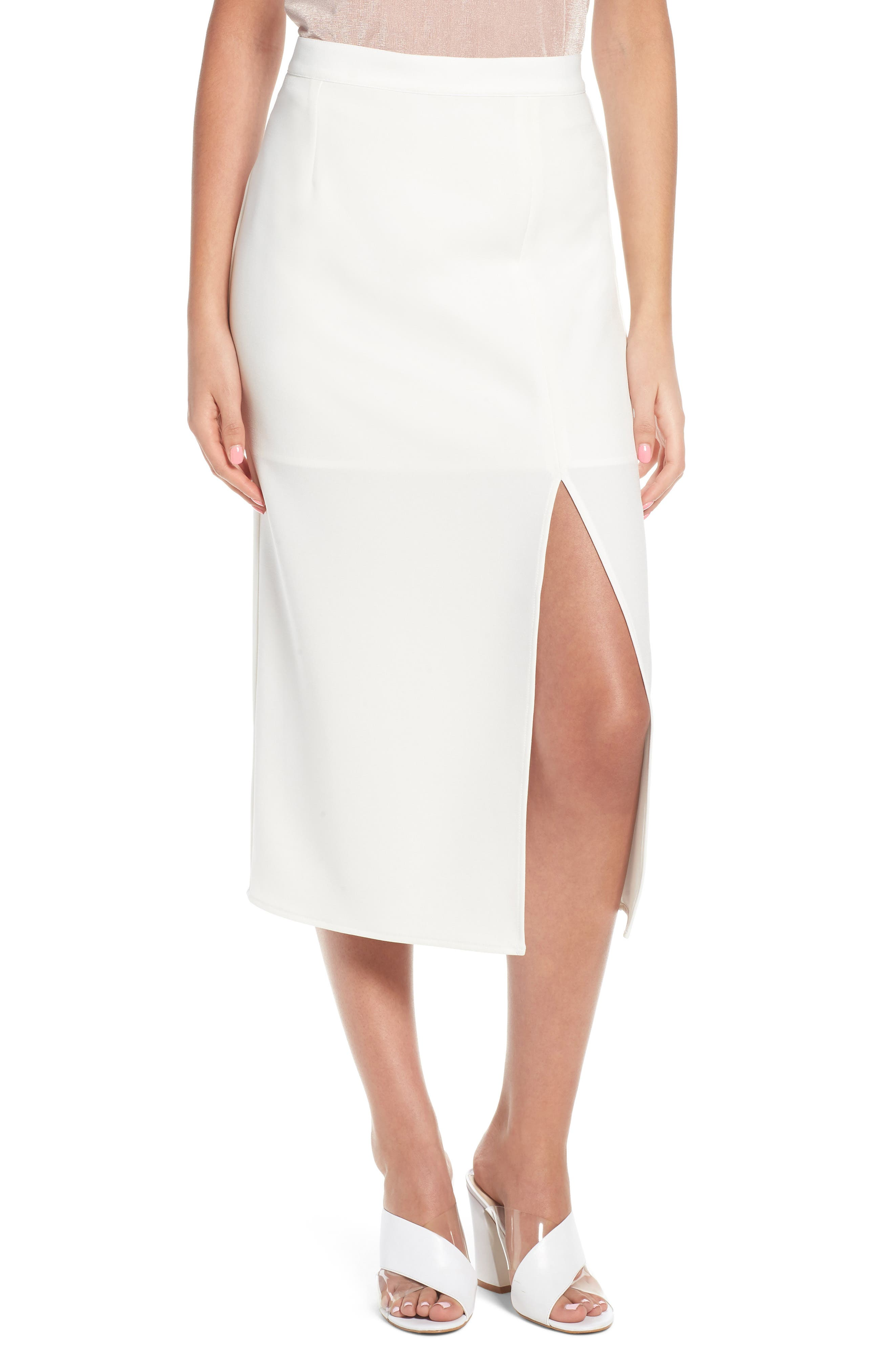 Brady Satin Midi Skirt,                         Main,                         color, IVORY